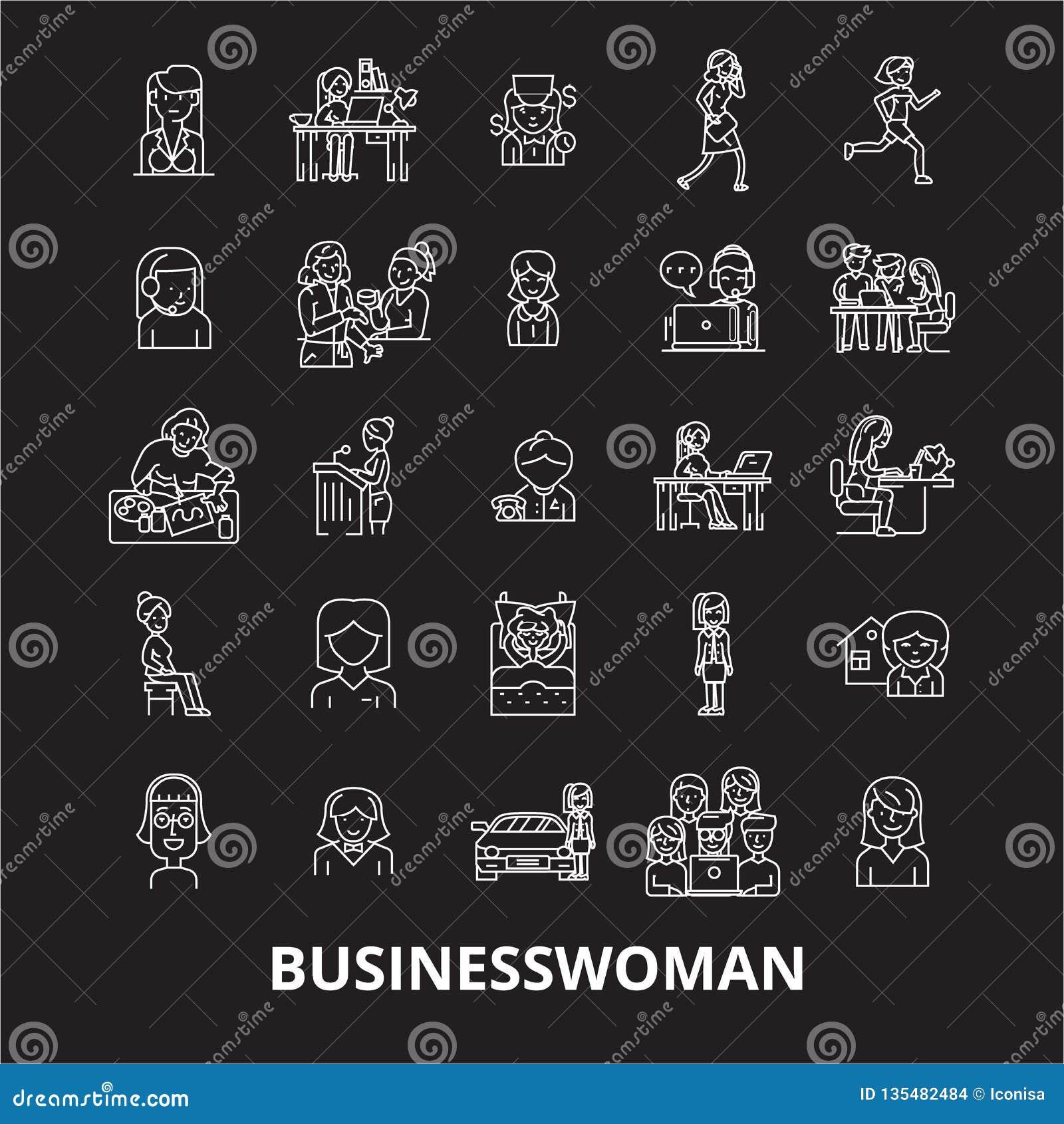 Biznesowej kobiety ikon editable kreskowy wektorowy ustawiający na czarnym tle Biznesowej kobiety konturu białe ilustracje, znaki