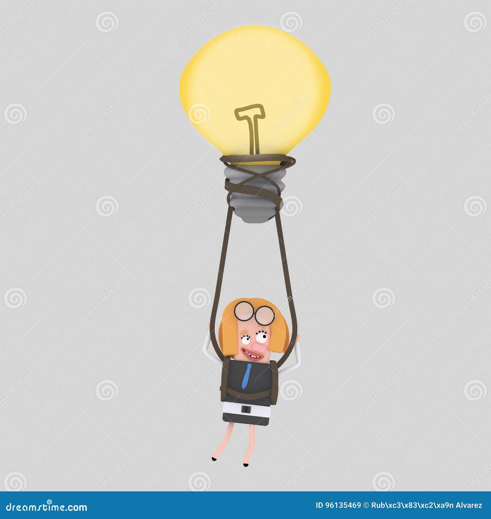 Biznesowej kobiety latanie na gorące powietrze balonu pomysle 3d
