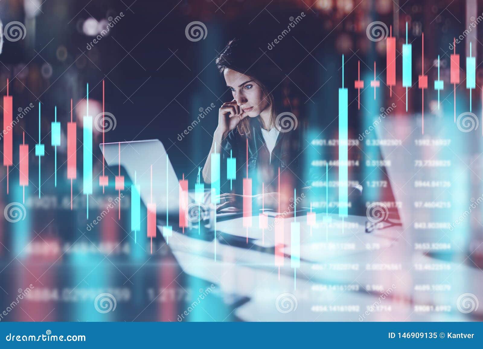 Biznesowej kobiety obsiadanie przy nocy biurem w frontowym laptopie z pieniężnymi wykresami i statystykami na monitorze Rewolucjo