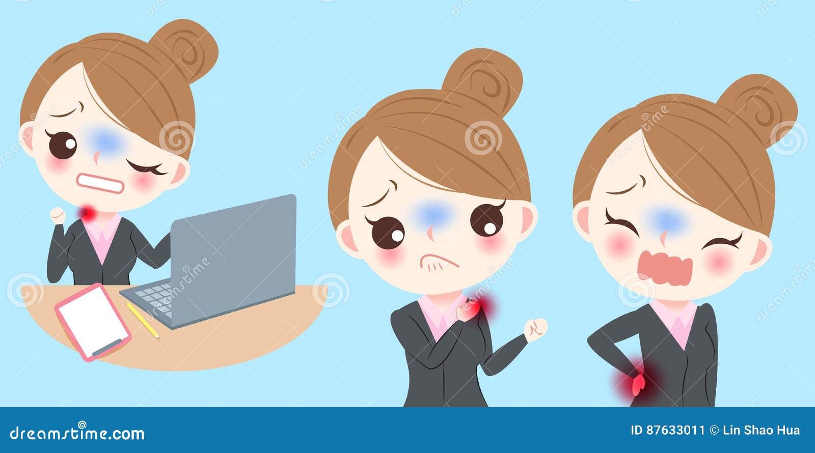 Biznesowej kobiety odczucia ból