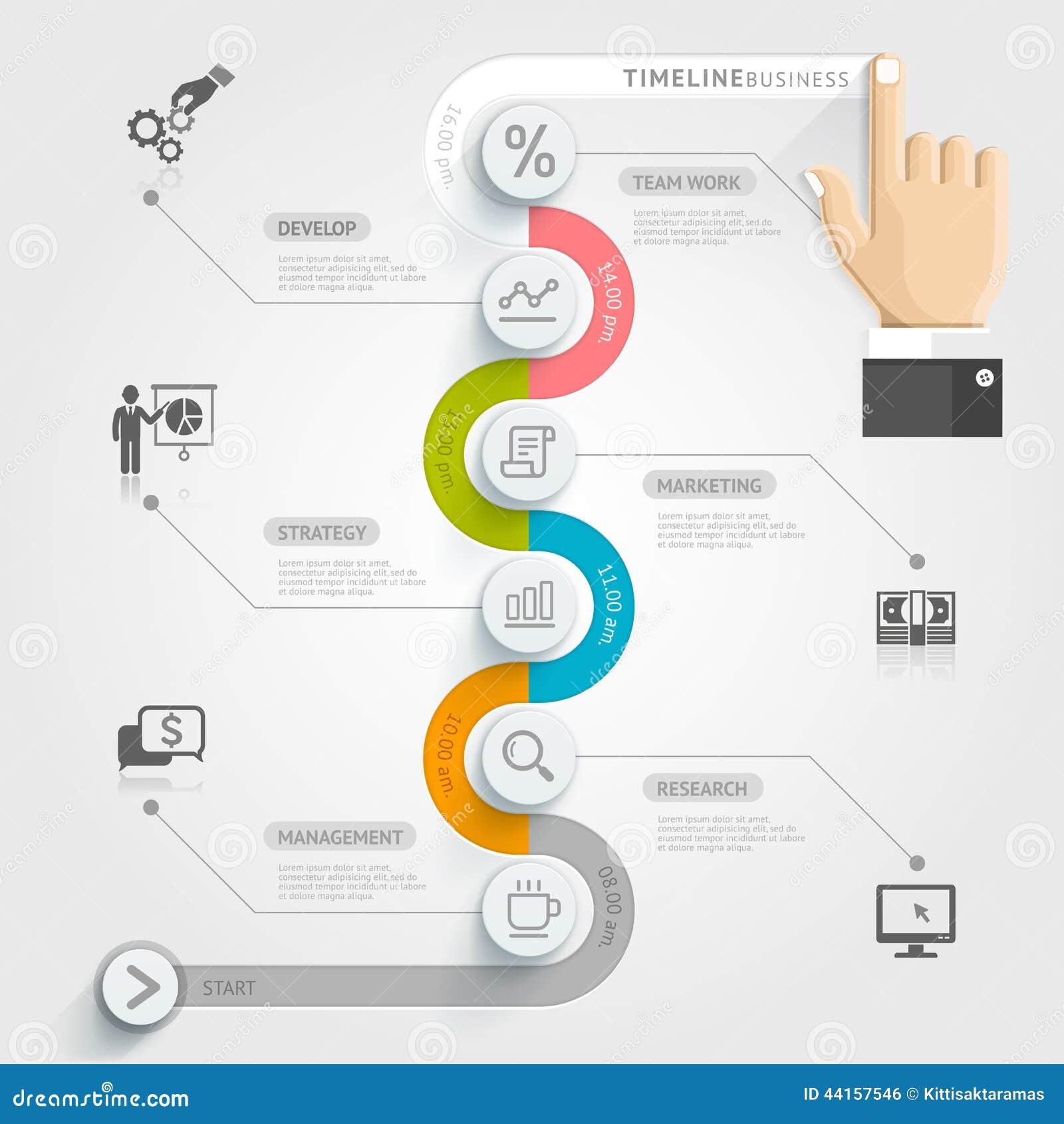 Biznesowej linii czasu infographic szablon