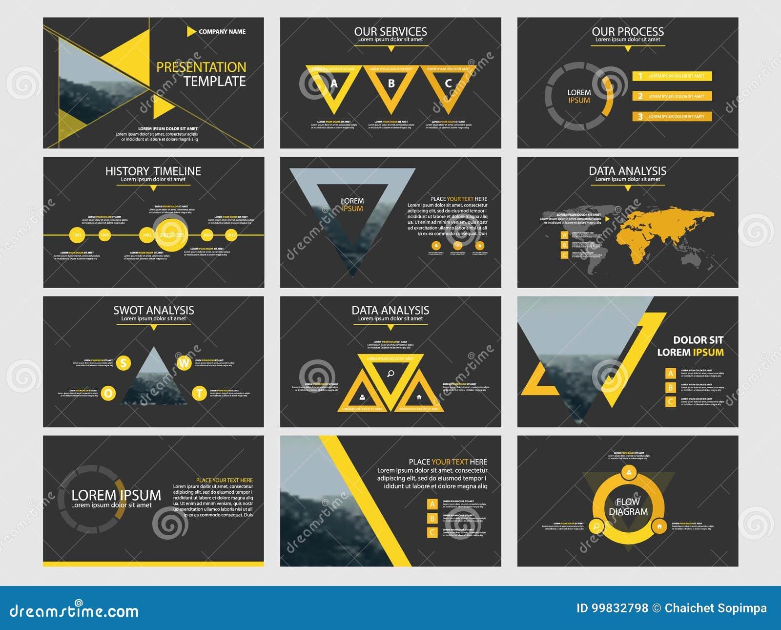 Biznesowej prezentaci elementów szablonu infographic set, sprawozdanie roczne broszurki korporacyjny horyzontalny projekt