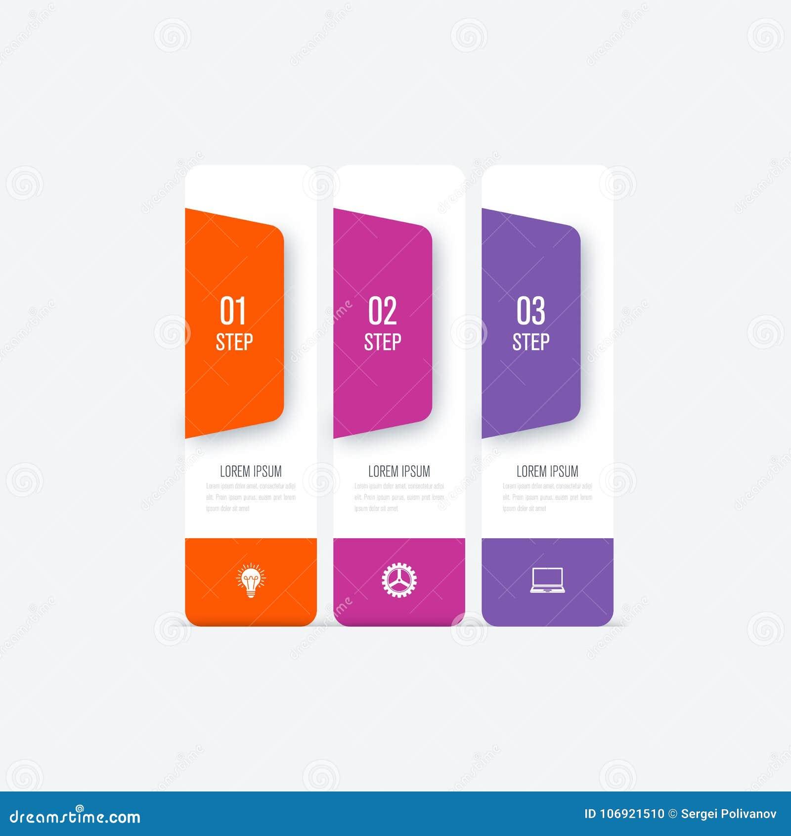 Biznesowi infographics szablonu 3 kroki z kwadratem