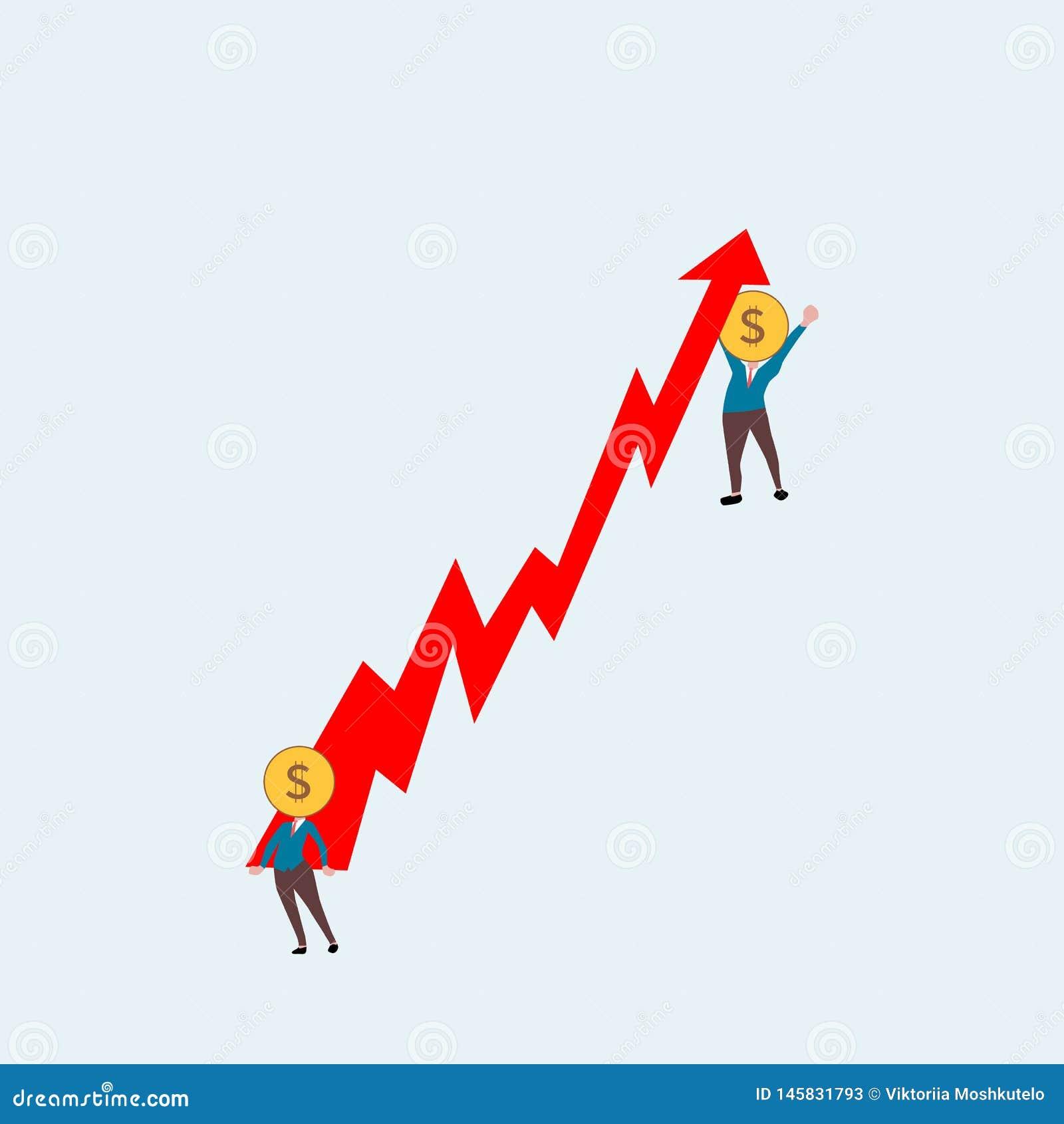 Biznesowi mężczyźni podnoszą w górę czerwonej strzały dolar kierownicza istota ludzka