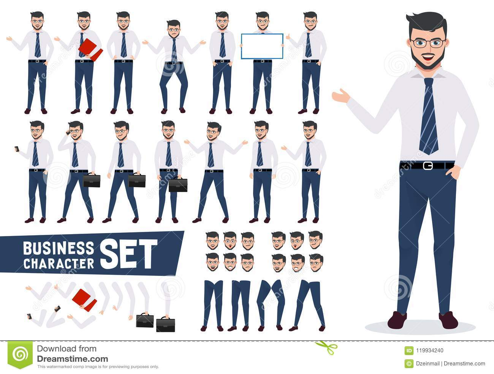 Biznesowy charakteru wektorowy ustawiający z męskim biznesmenem w prezentaci pozie