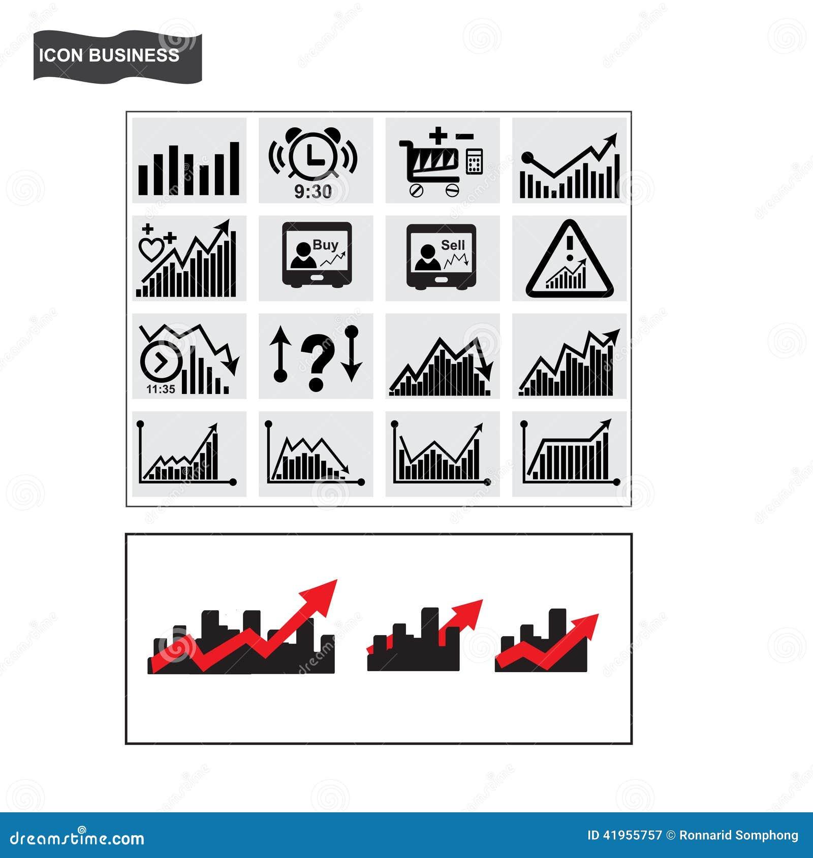 Biznesowy ikona finanse akcyjnego handlu ikony wektor
