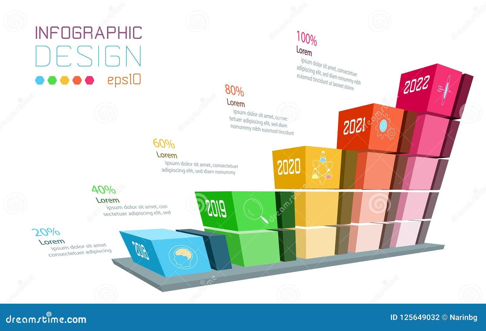 Biznesowy infographic na trójwymiarowym wykresu barze