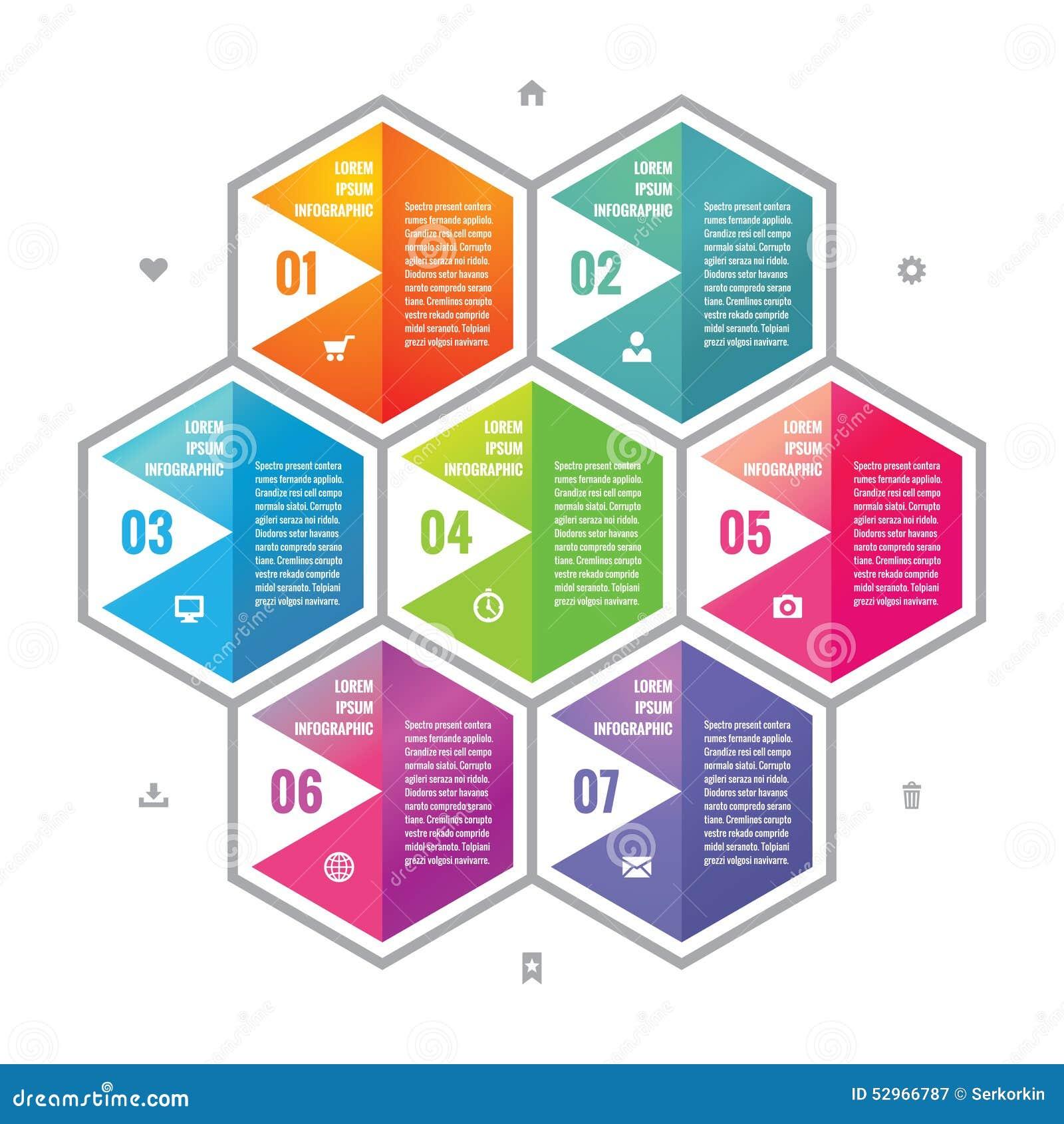 Biznesowy infographic pojęcie barwił sześciokątów bloki w mieszkanie stylu projekcie Kroki lub liczący opcja wektoru infographic
