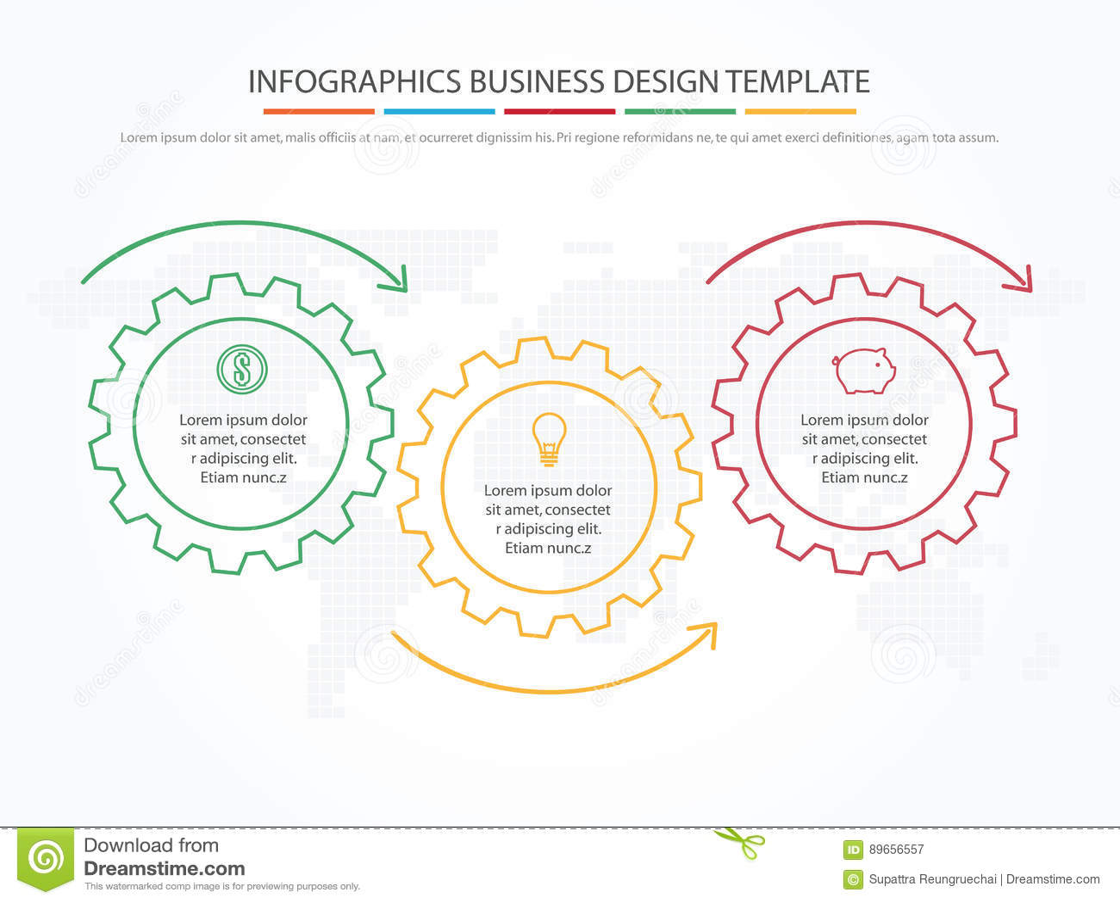 Biznesowy Infographics Linia czasu z 3 krokami, przekładnie, cogwheels