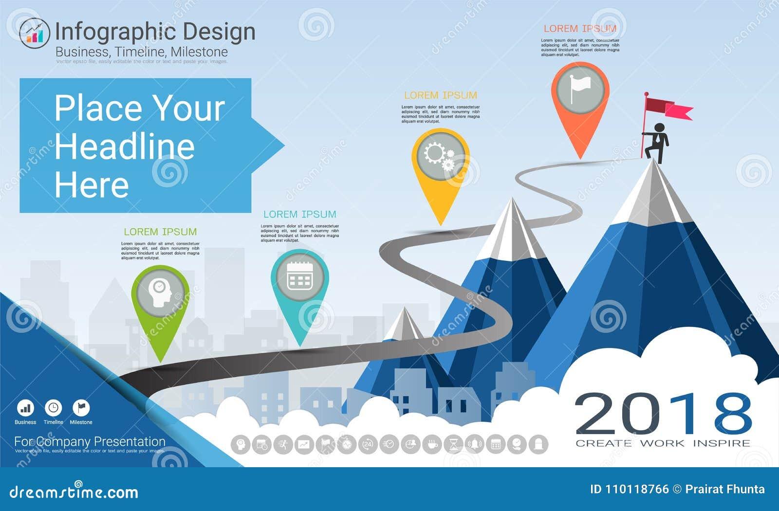 Biznesowy infographics szablon, kamień milowy linia czasu lub Drogowa mapa z Proces flowchart 4 opcjami,