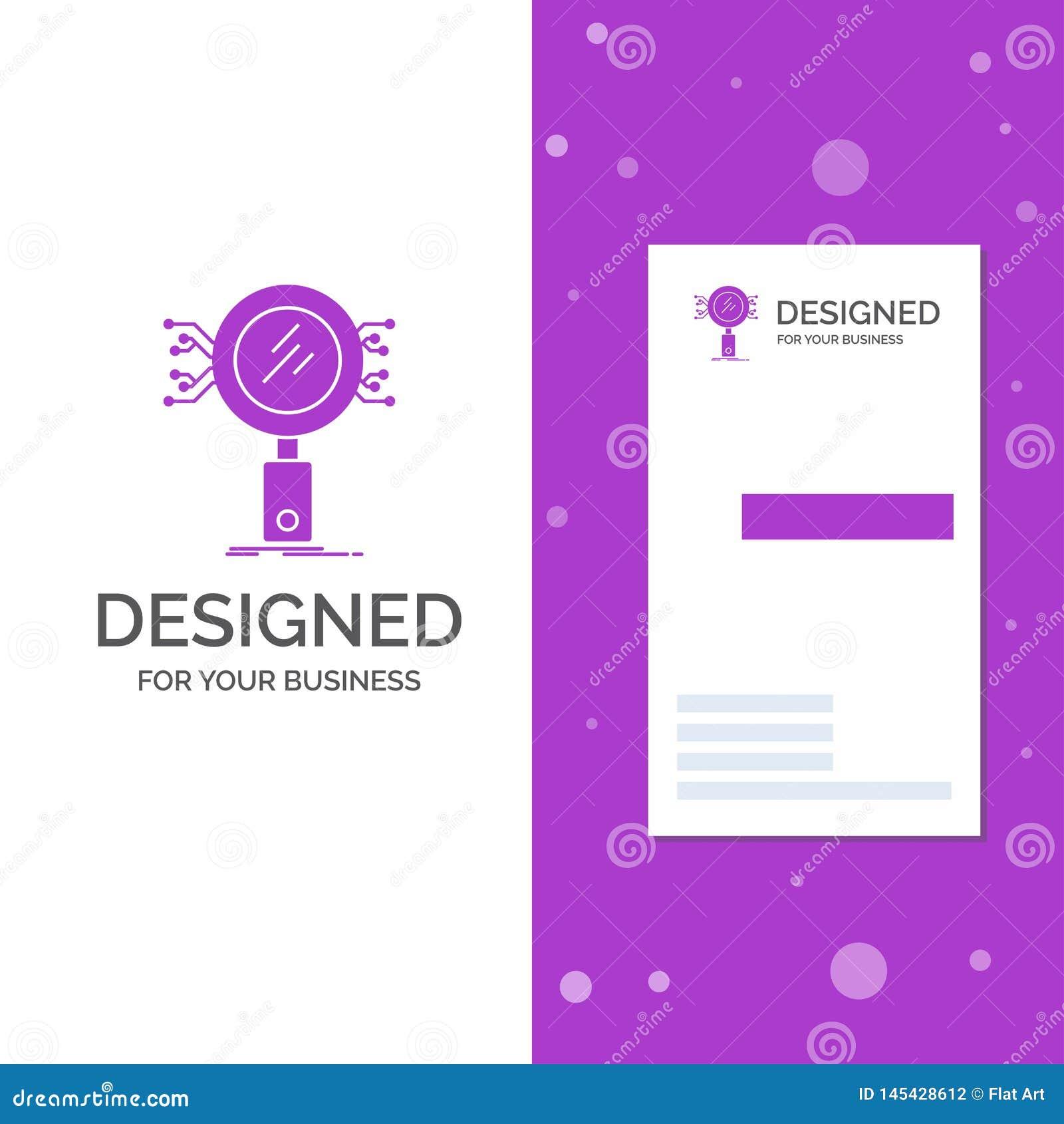Biznesowy logo dla analizy, rewizja, informacja, badanie, ochrona Pionowo Purpurowy biznes, Odwiedza? Karcianego szablon/ kreatyw