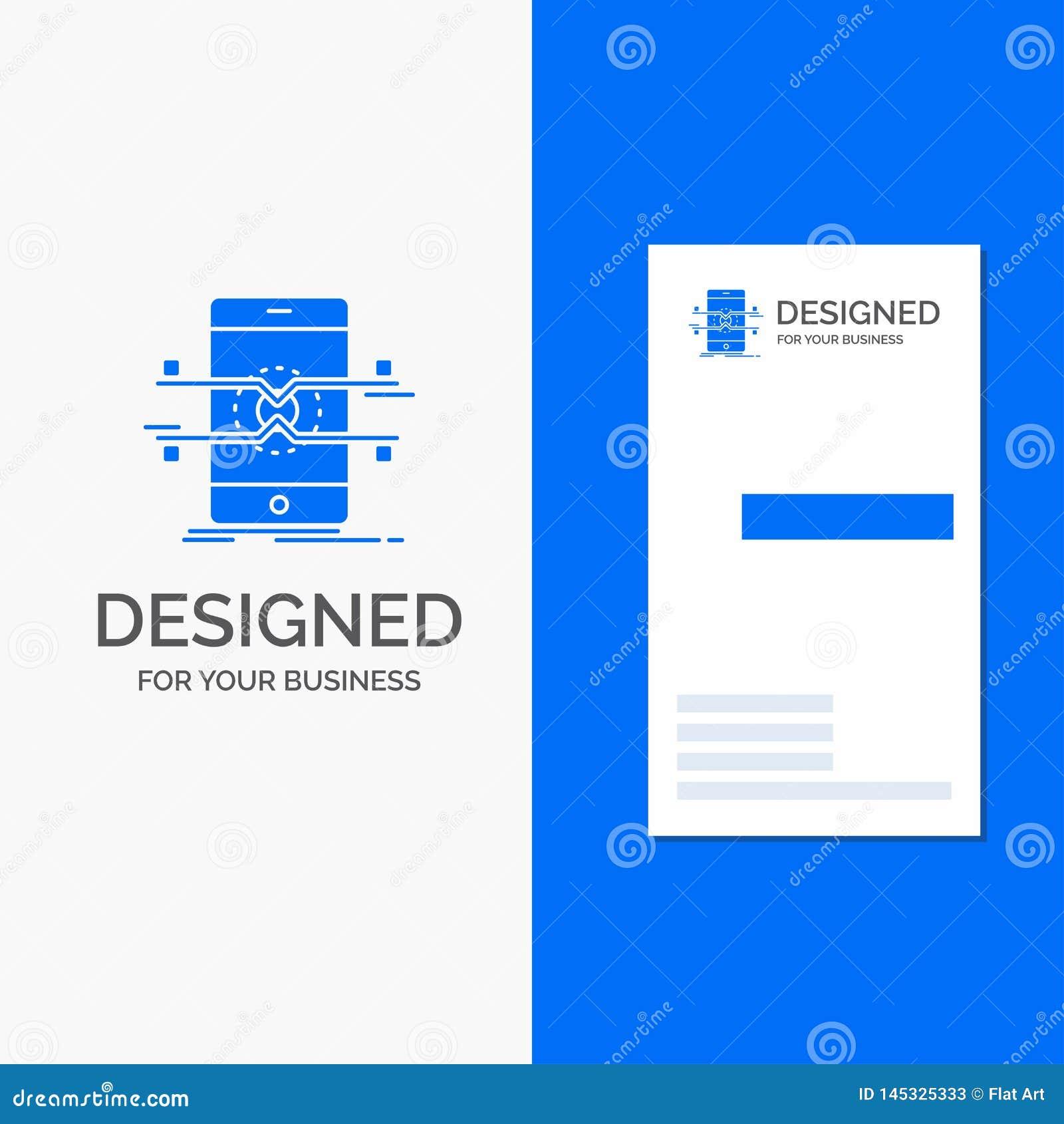 Biznesowy logo dla Api, interfejs, wisz?ca ozdoba, telefon, smartphone Pionowo B??kitny biznes, Odwiedza? Karcianego szablon/