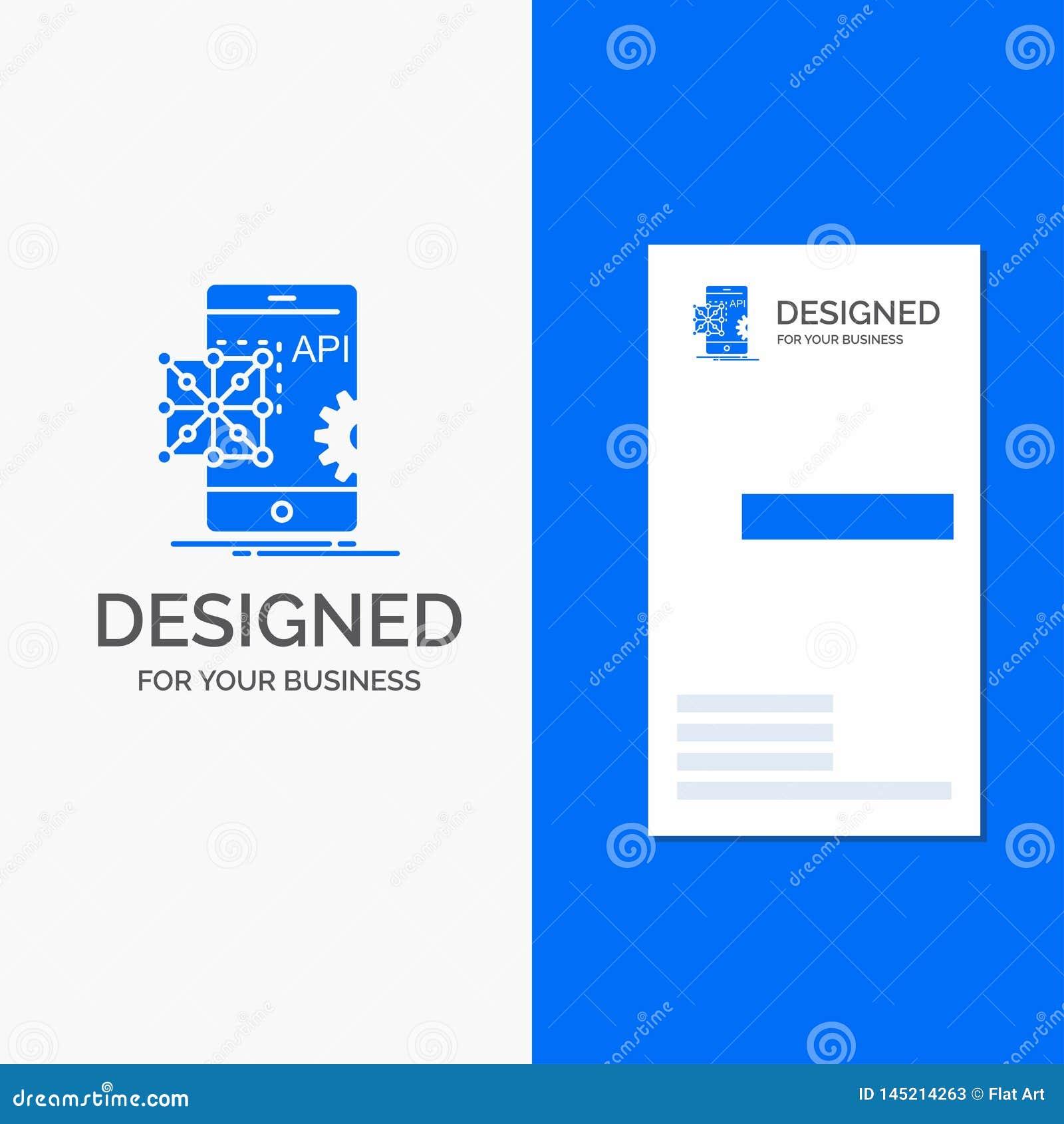 Biznesowy logo dla Api, zastosowanie, cyfrowanie, rozw?j, wisz?ca ozdoba Pionowo B??kitny biznes, Odwiedza? Karcianego szablon/