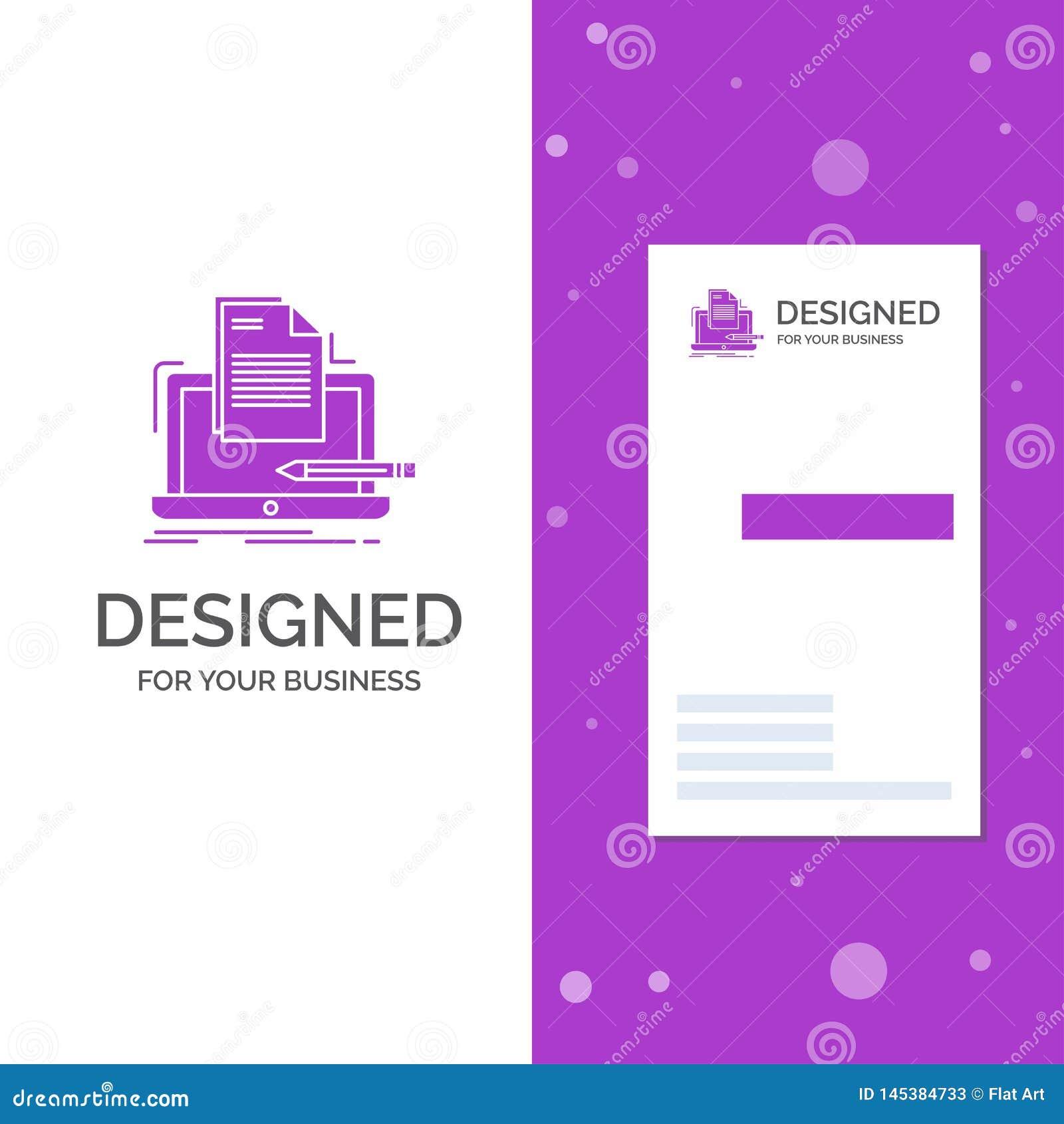 Biznesowy logo dla kodera, cyfrowanie, komputer, lista, papier Pionowo Purpurowy biznes, Odwiedza? Karcianego szablon/ kreatywne