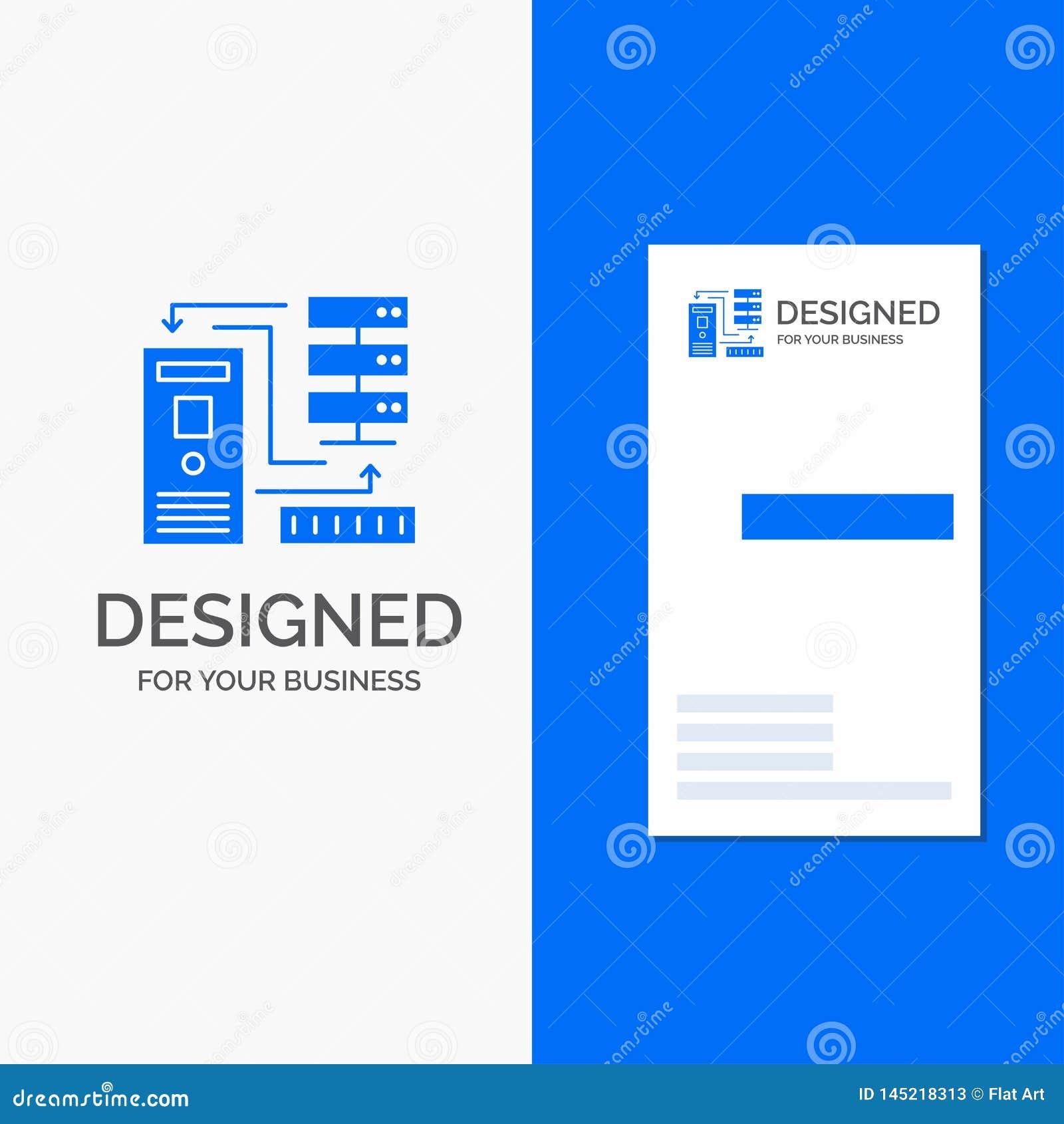 Biznesowy logo dla kombinacji, dane, baza danych, elektroniczny, informacja Pionowo B??kitny biznes, Odwiedza? Karcianego szablon