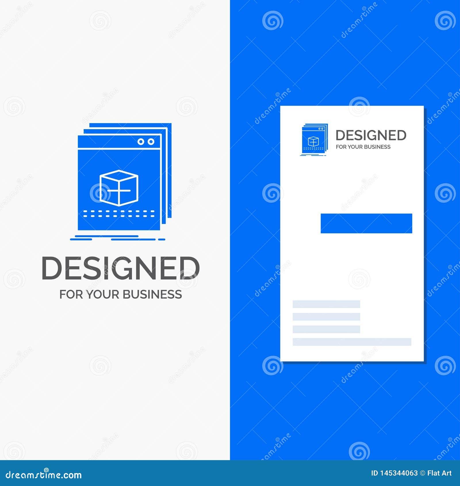 Biznesowy logo dla oprogramowania, App, zastosowanie, kartoteka, program Pionowo B??kitny biznes, Odwiedza? Karcianego szablon/