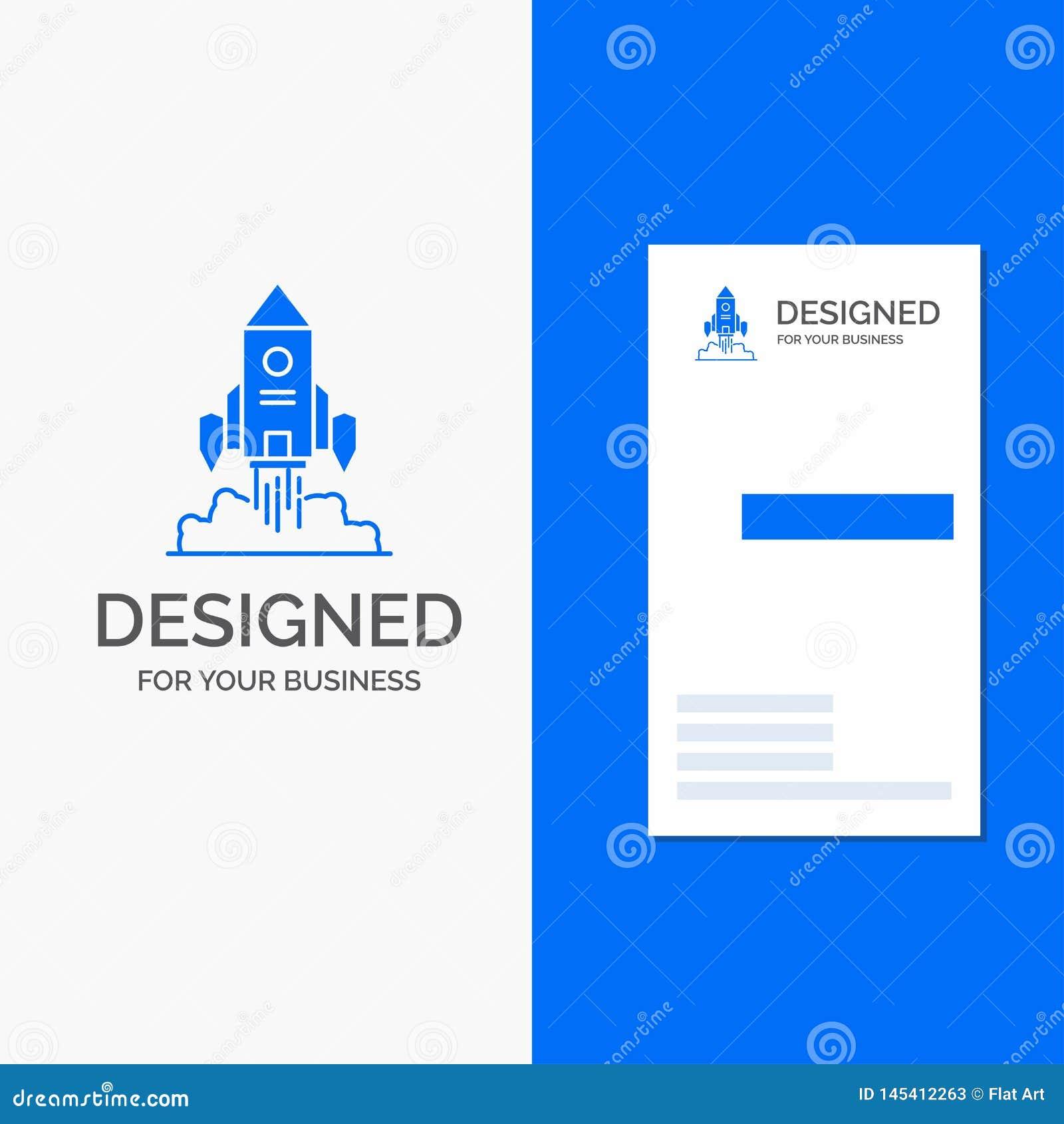 Biznesowy logo dla rakiety, statek kosmiczny, rozpocz?cie, wodowanie, gra Pionowo B??kitny biznes, Odwiedza? Karcianego szablon/