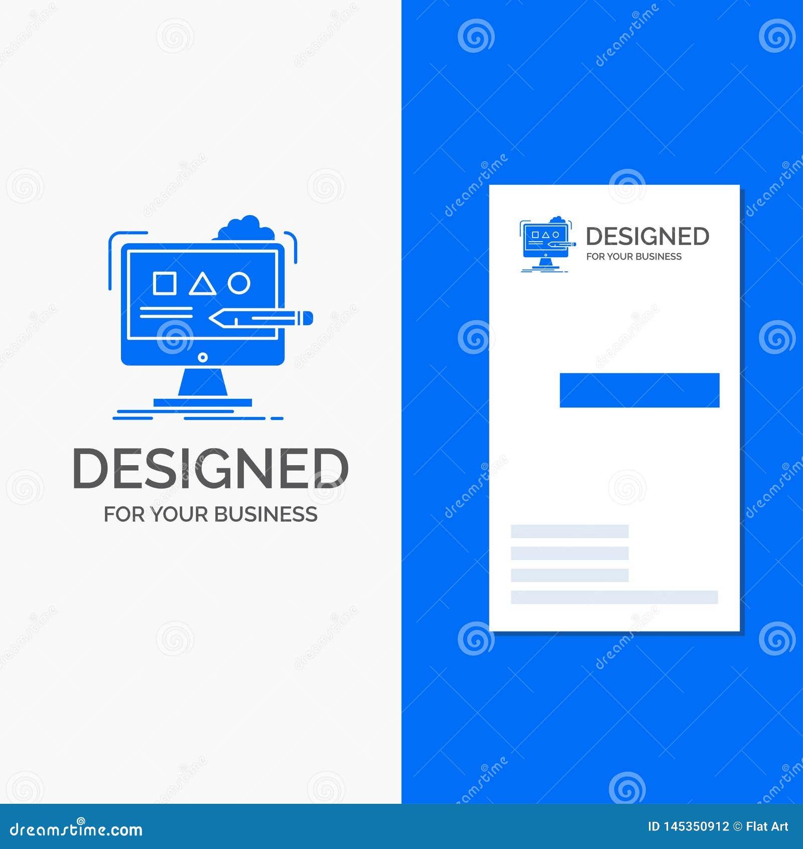 Biznesowy logo dla sztuki, komputer, projekt, cyfrowy, studio Pionowo B??kitny biznes, Odwiedza? Karcianego szablon/
