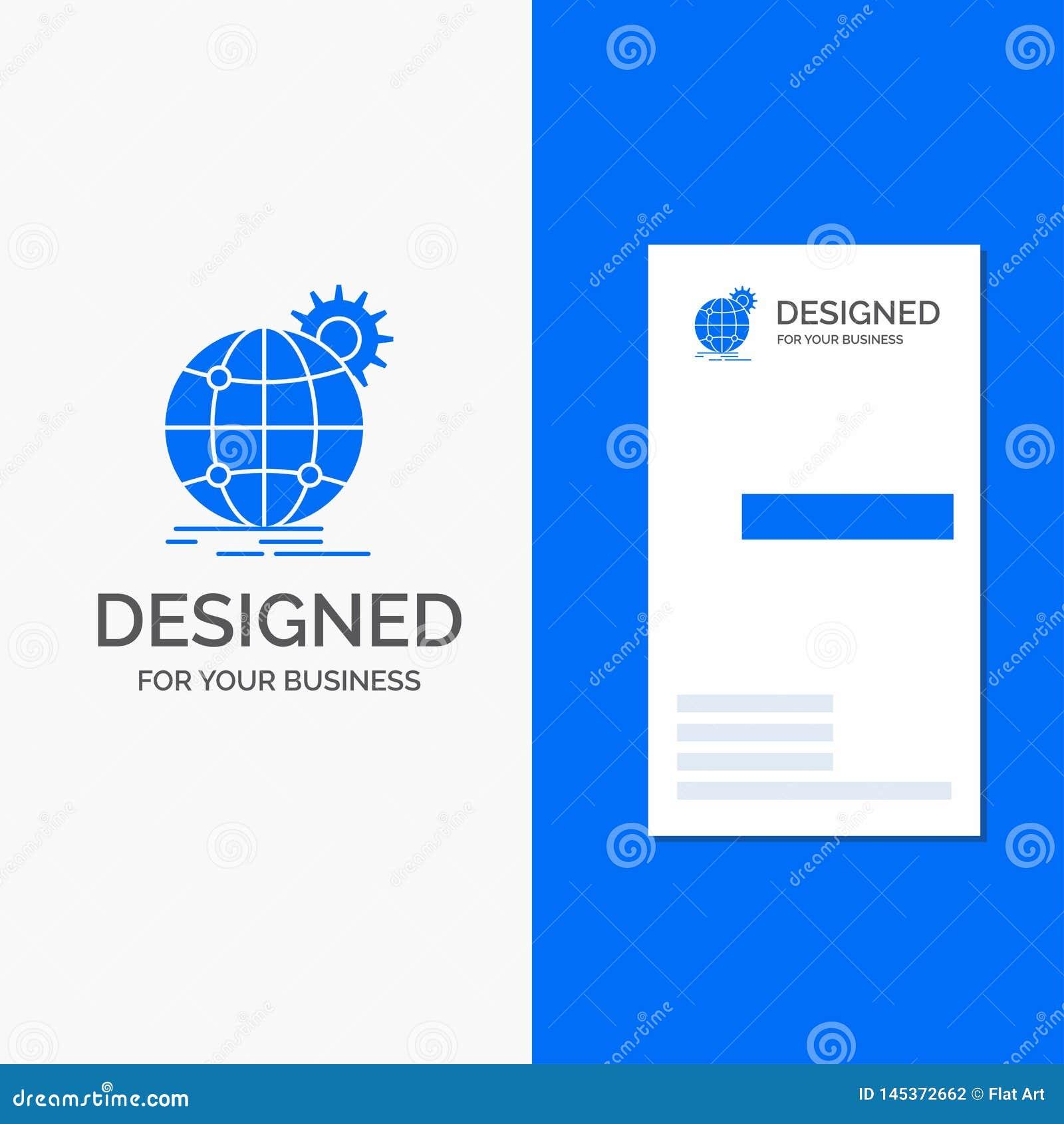 Biznesowy logo dla zawody mi?dzynarodowi, biznes, kula ziemska, ?wiatowa, przek?adnia Pionowo B??kitny biznes, Odwiedza? Karciane