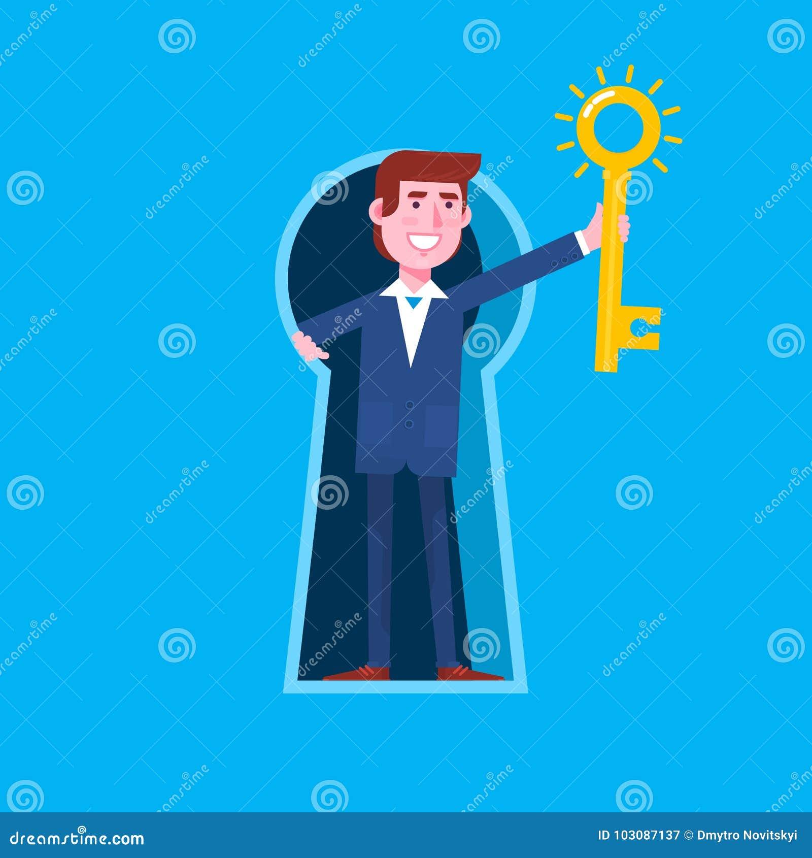Biznesowy mężczyzna patrzeje z gigantycznego keyhole i trzyma dużego klucz z keyhole Płaskiego wektoru odosobniona ilustracja