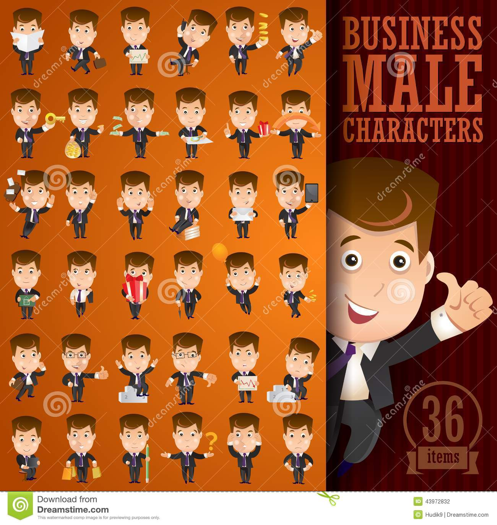 Biznesowy męski charakter - set