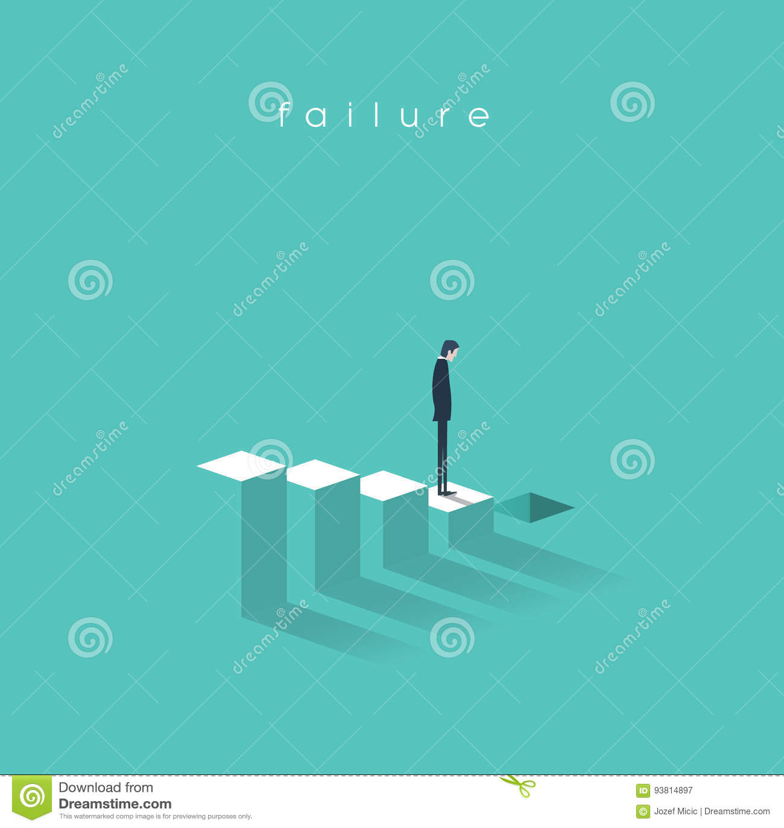 Biznesowy niepowodzenie i bakruptcy wektorowy ilustracyjny pojęcie Biznesmen prowadzi rynku papierów wartościowych trzask na krok