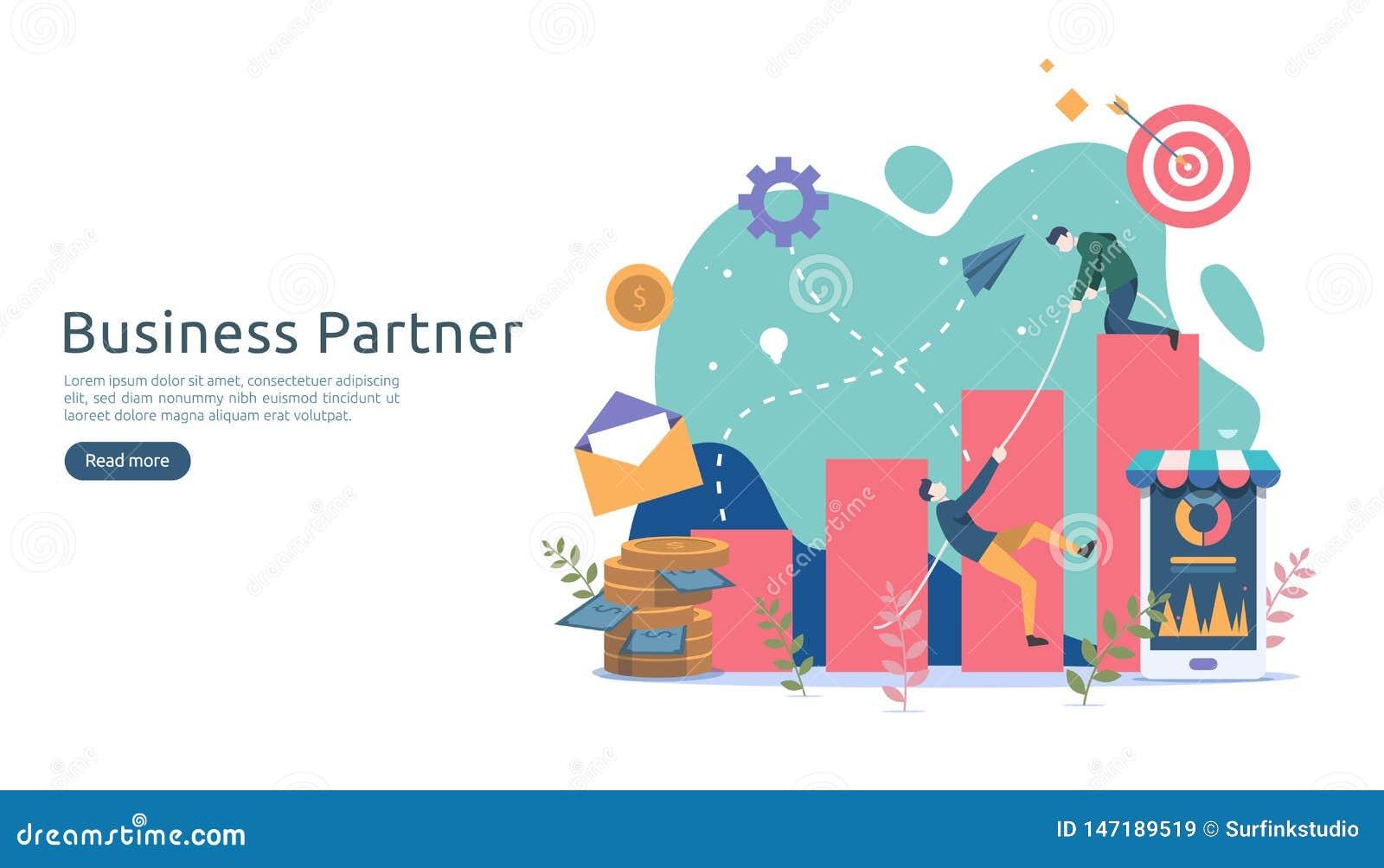 Biznesowy partnerstwa powiązania pojęcia pomysł z malutkimi ludźmi charakterów drużynowy działanie partnera wpólnie szablon dla s