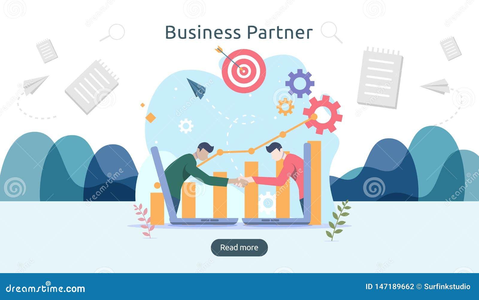 Biznesowy partnerstwa powi?zania poj?cia pomys? z malutkimi lud?mi charakter?w dru?ynowy dzia?anie partnera wp?lnie szablon dla s