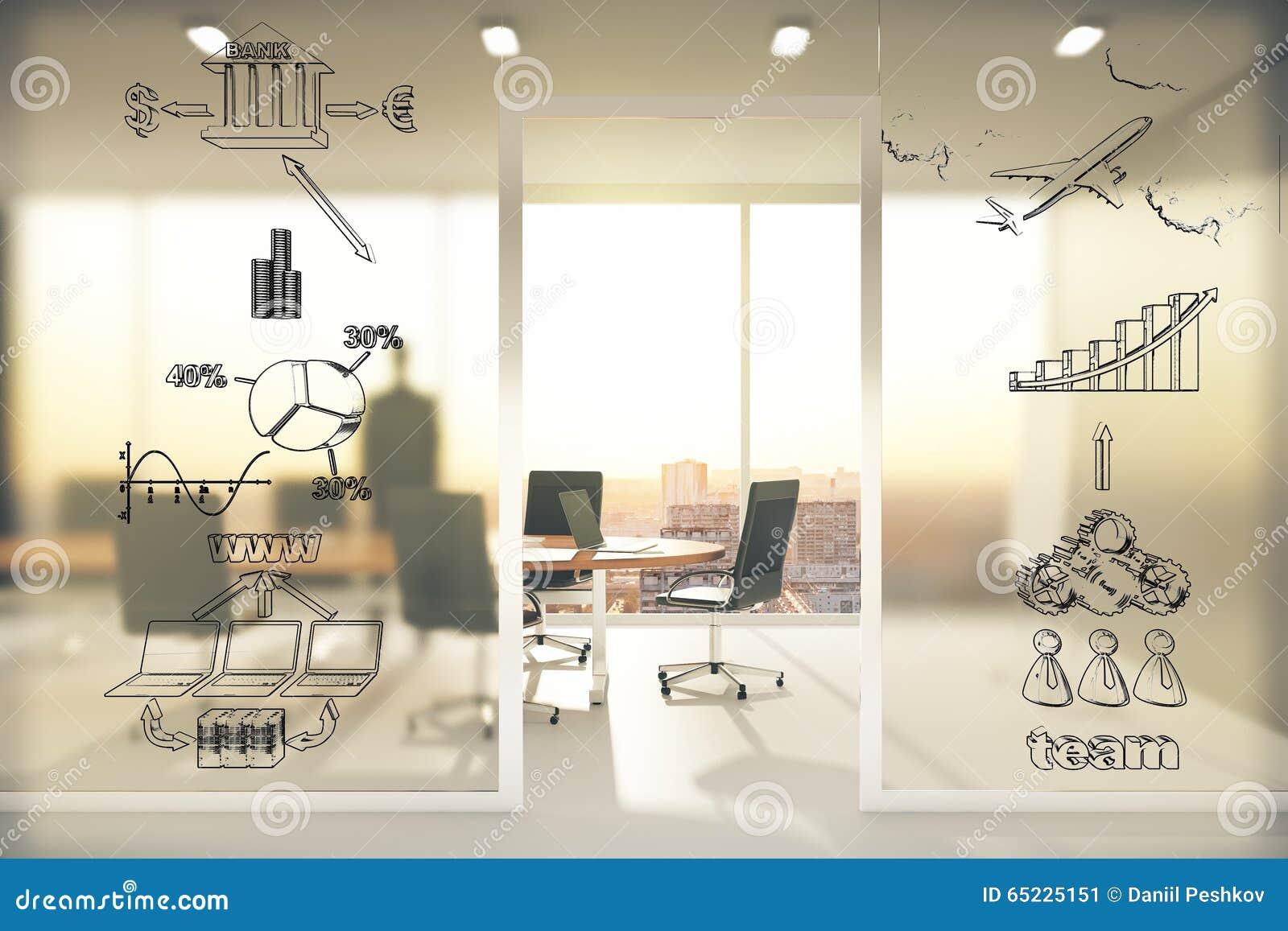 Biznesowy planu pojęcie na przejrzystej ścianie w sala konferencyjnej a