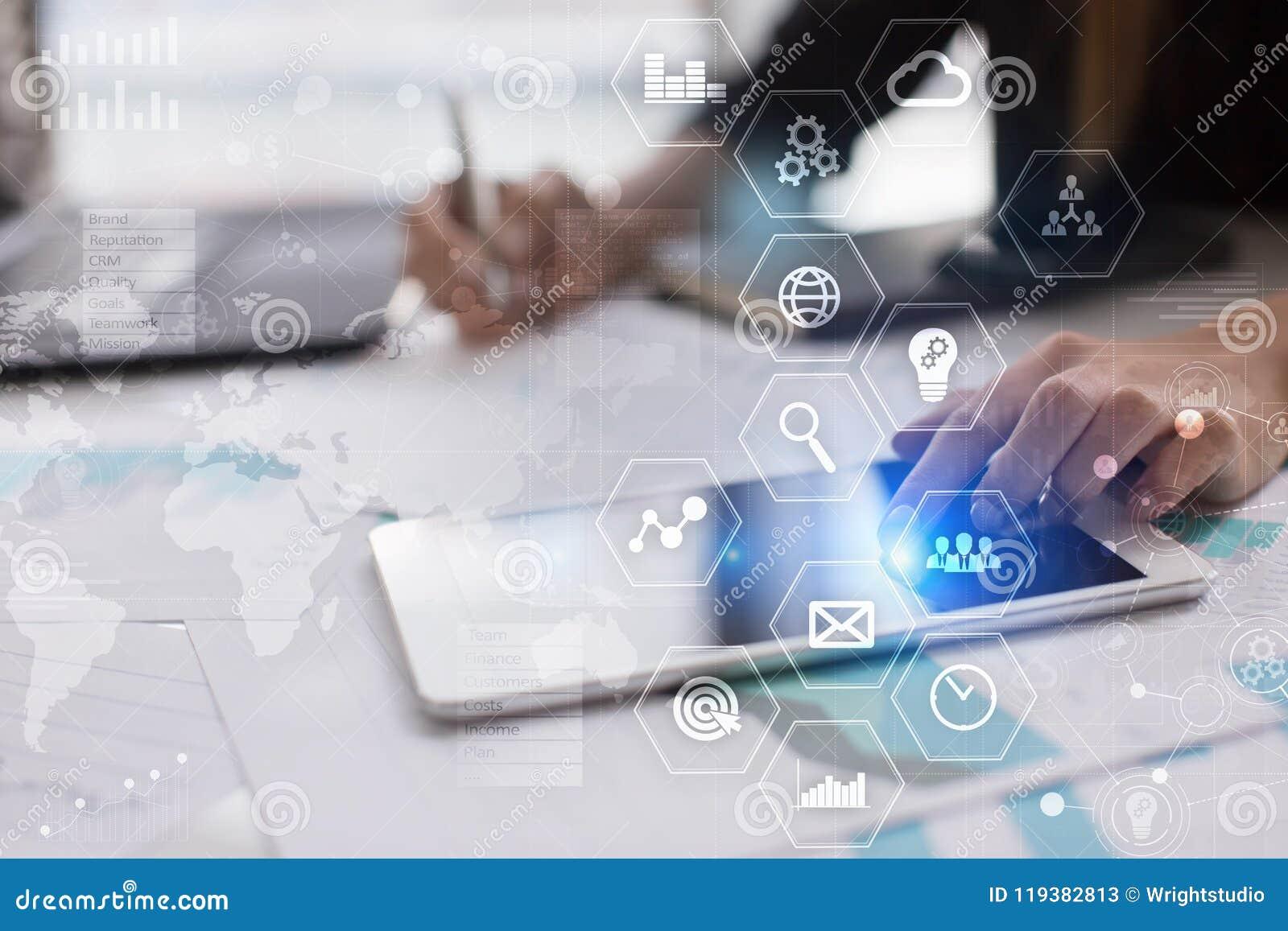 Biznesowy pojęcia tło Wirtualny ekran z pustą przestrzenią dla teksta Internet i technologia