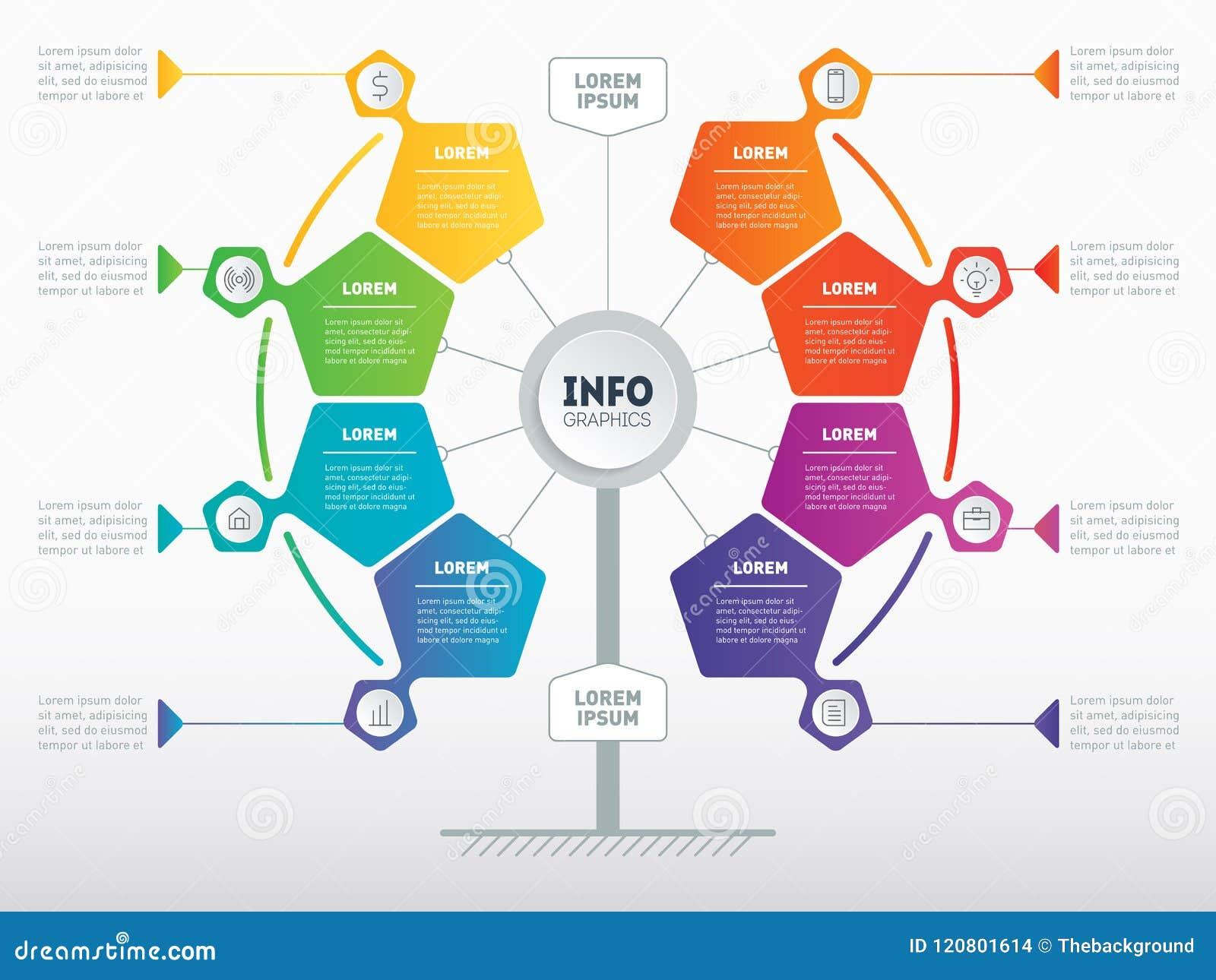 Biznesowy prezentaci pojęcie z 8 opcjami Sieć szablon se