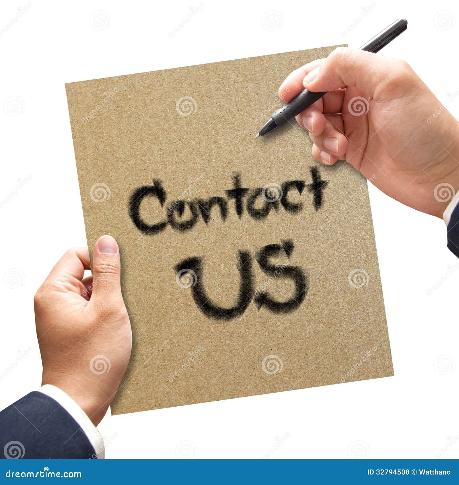 Biznesowy ręki writing kontakt My na papierze