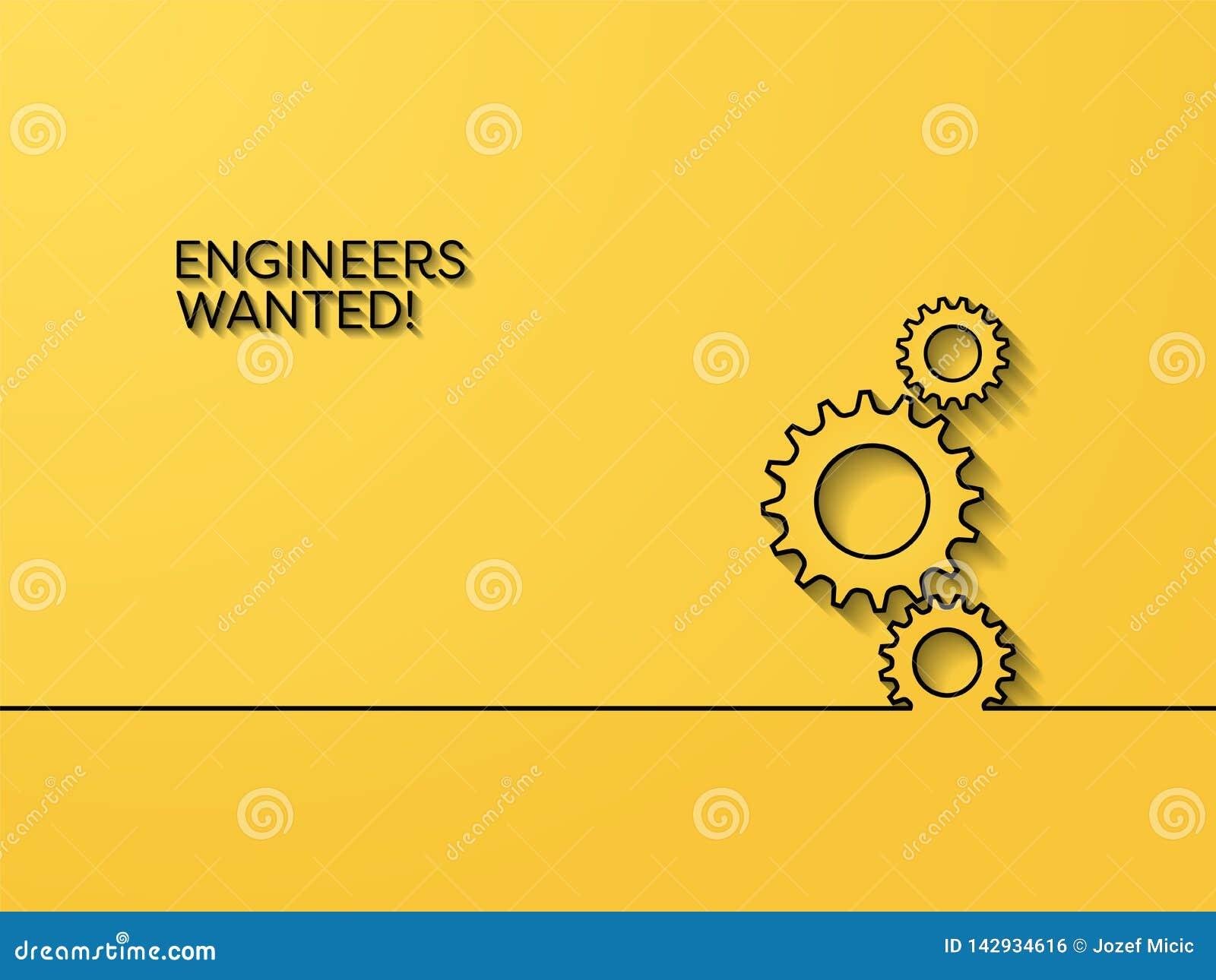Biznesowy rekrutacyjny plakatowy wektorowy pojęcie z inżynieria symbolem Symbol kariery sposobność dla inżynierów, wewnątrz