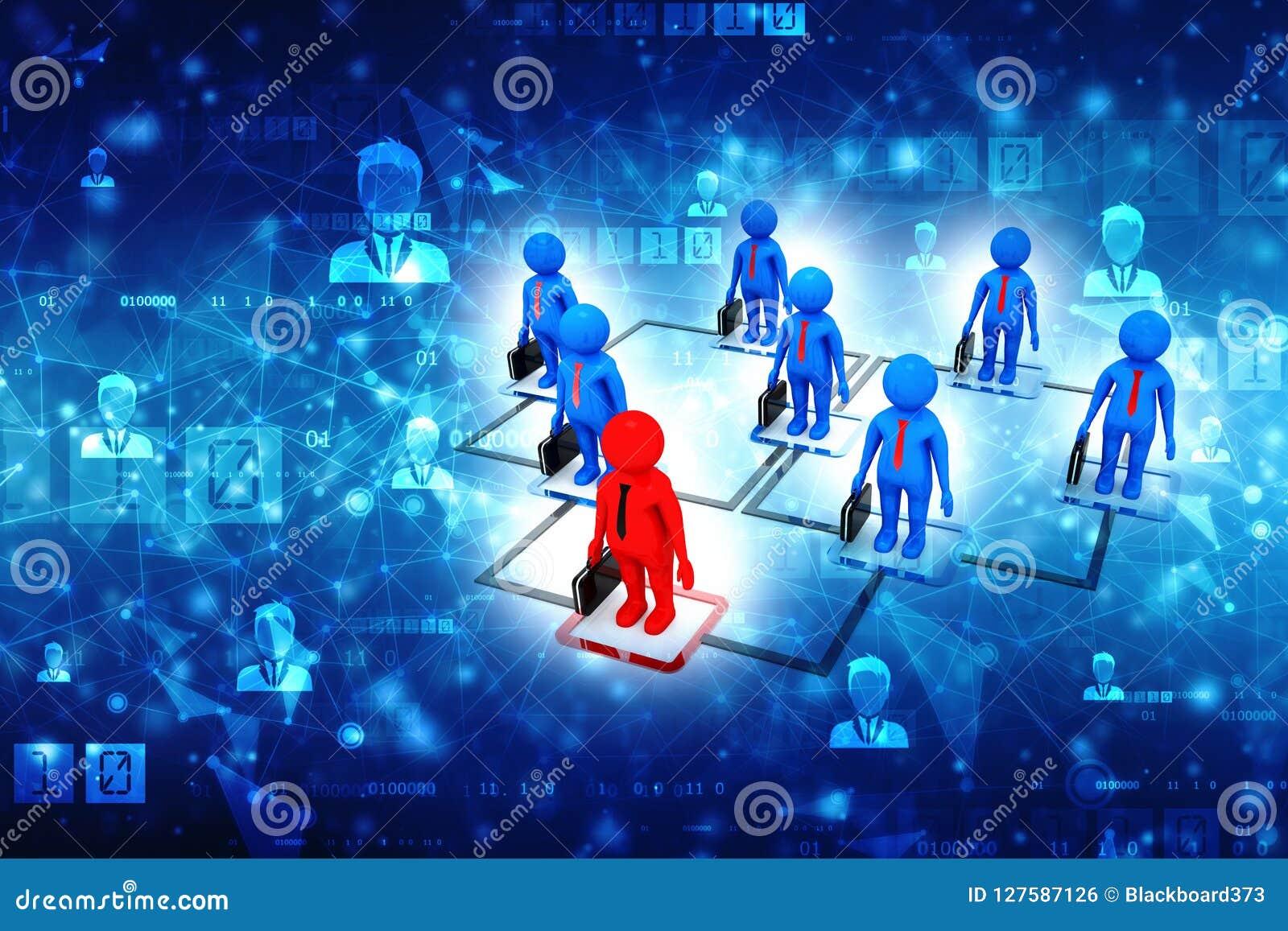 Biznesowy sieci pojęcie, lider, przywódctwo pojęcie, komunikacja biznesowa świadczenia 3 d