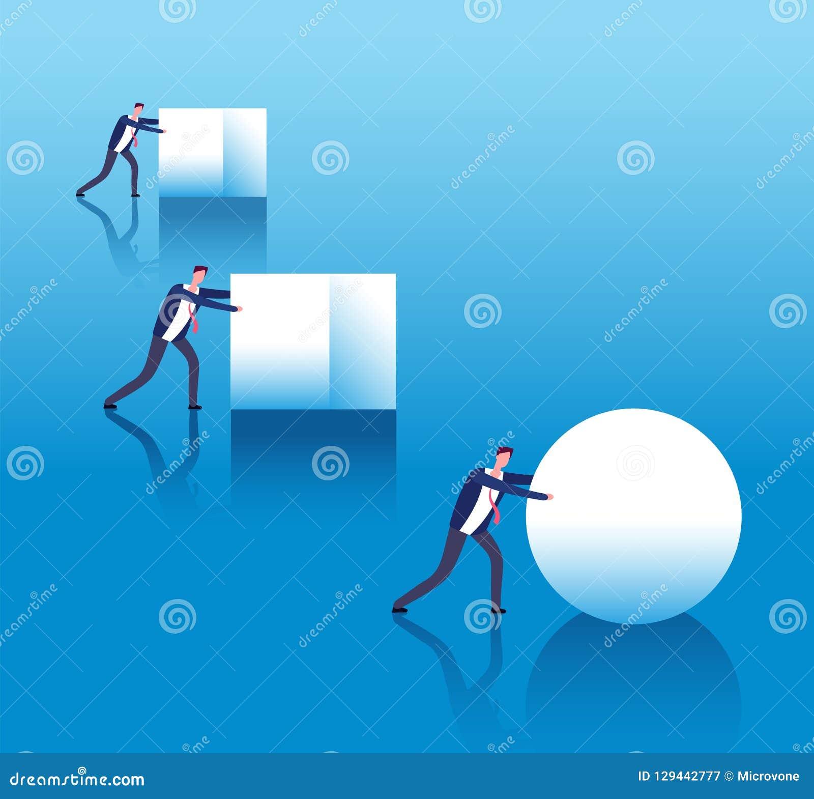 Biznesowy skuteczny pojęcie Biznesmeni pchają pudełka i mądrze lider rolek piłkę Biznesowa innowacja i strategia