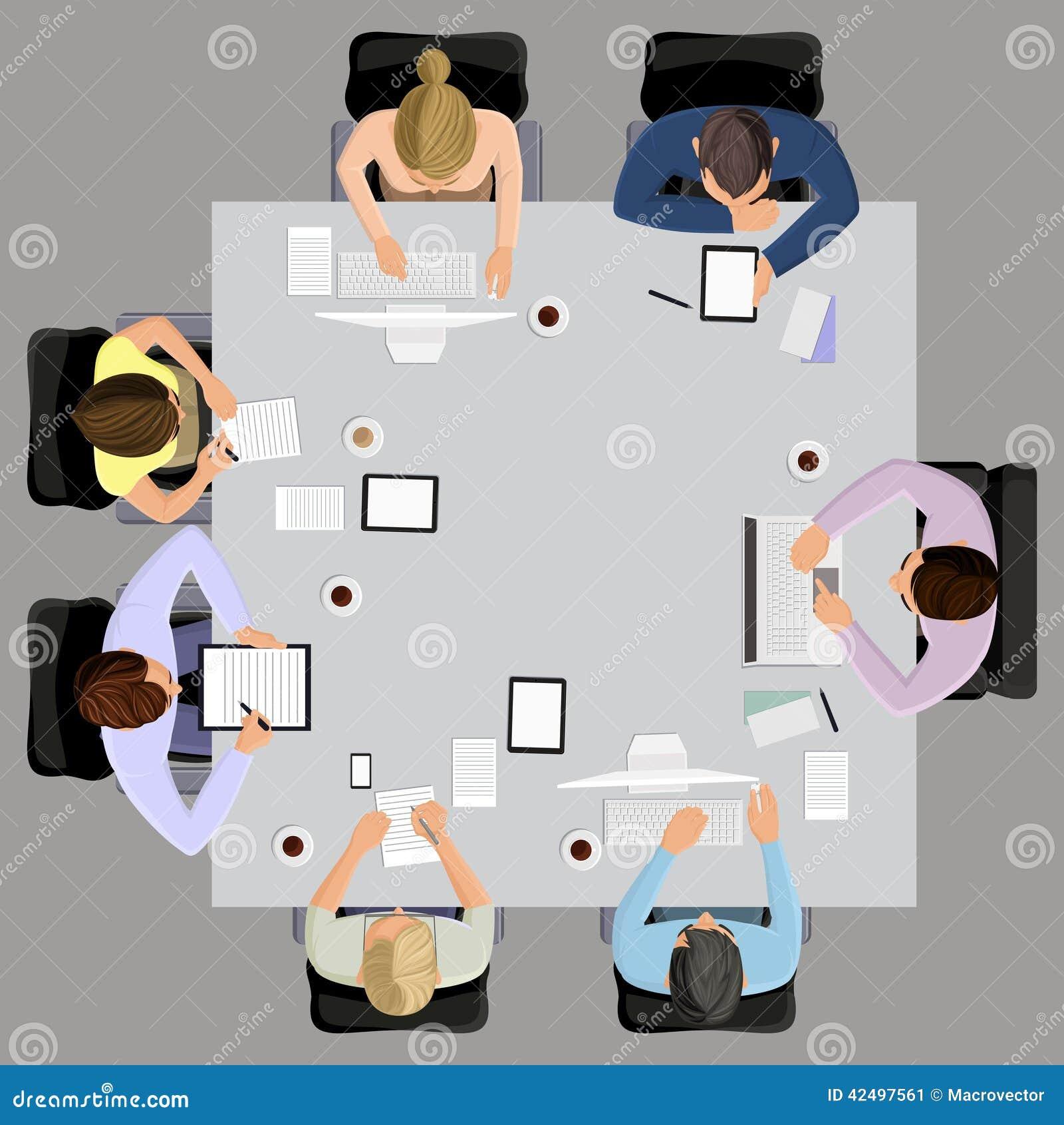 Biznesowy spotkanie w odgórnym widoku