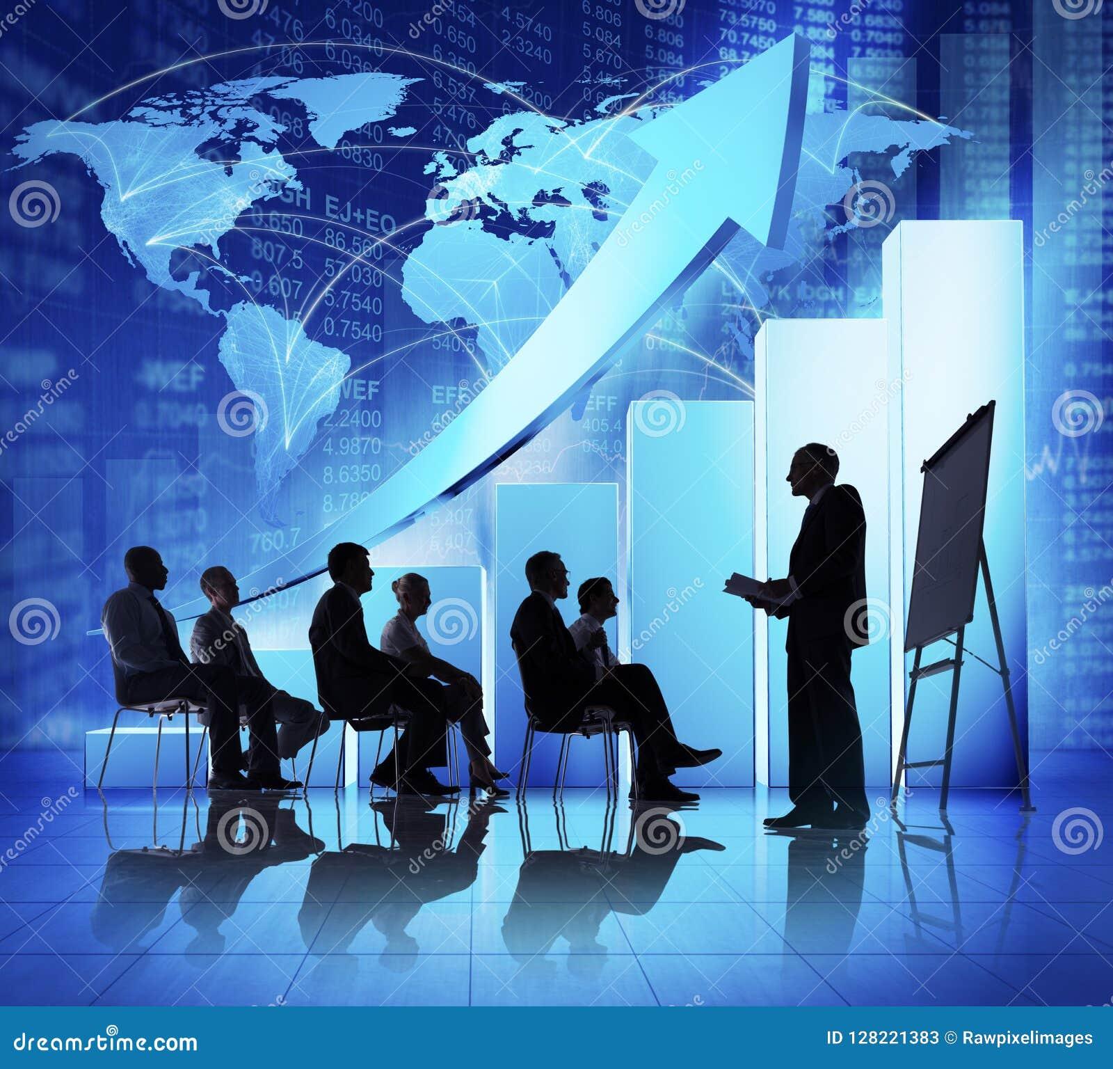 Biznesowy spotkanie ze wzrastającym wykresem