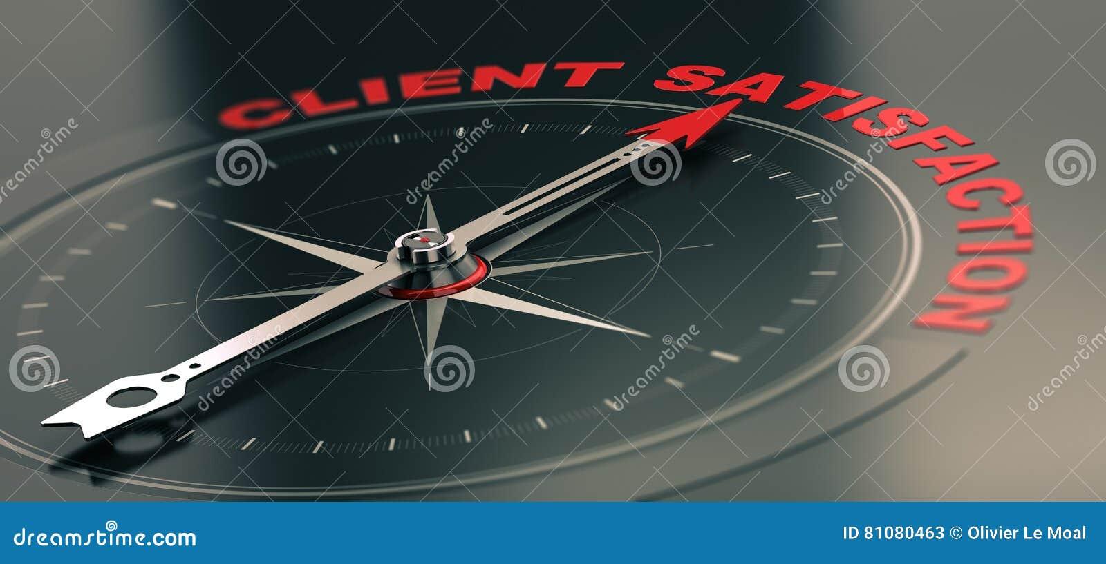 Biznesowy Stażowy pojęcie, Obiektywna obsługa klienta Satisfacti