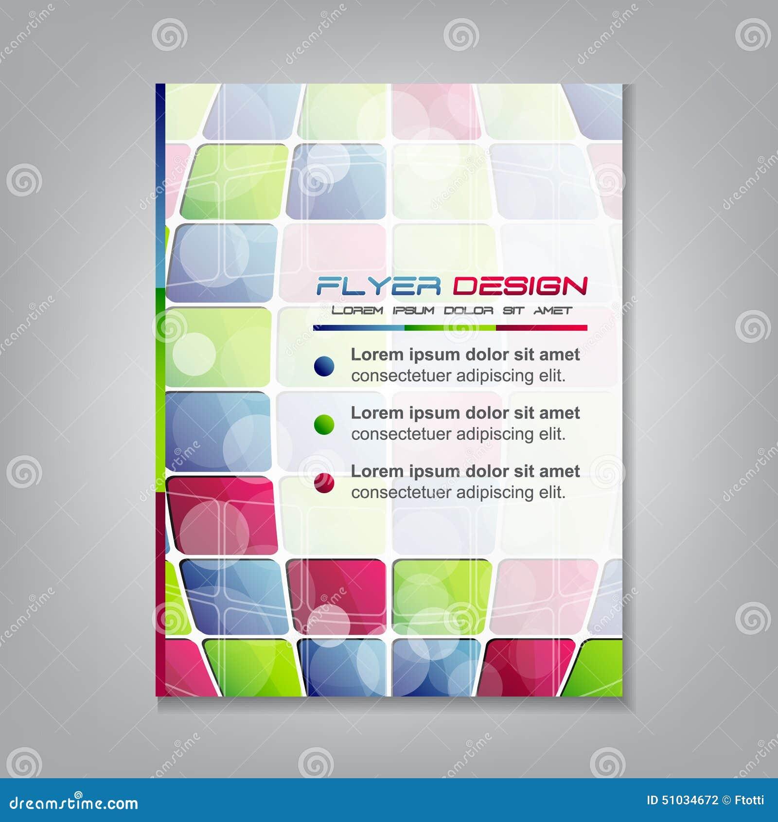 Biznesowy ulotka szablon lub korporacyjny sztandar z barwionymi kwadratami