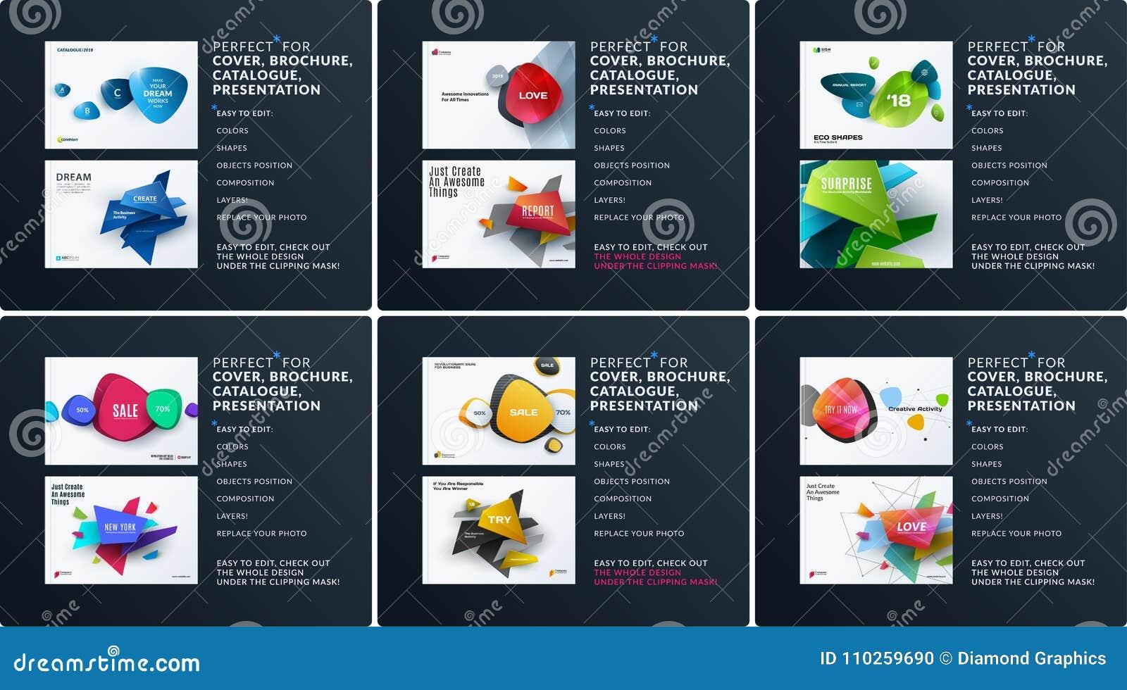 Biznesowy ustawiający projekt broszurka, abstrakcjonistyczny sprawozdanie roczne, horyzontalny okładkowy układ, ulotka w A4 z wek