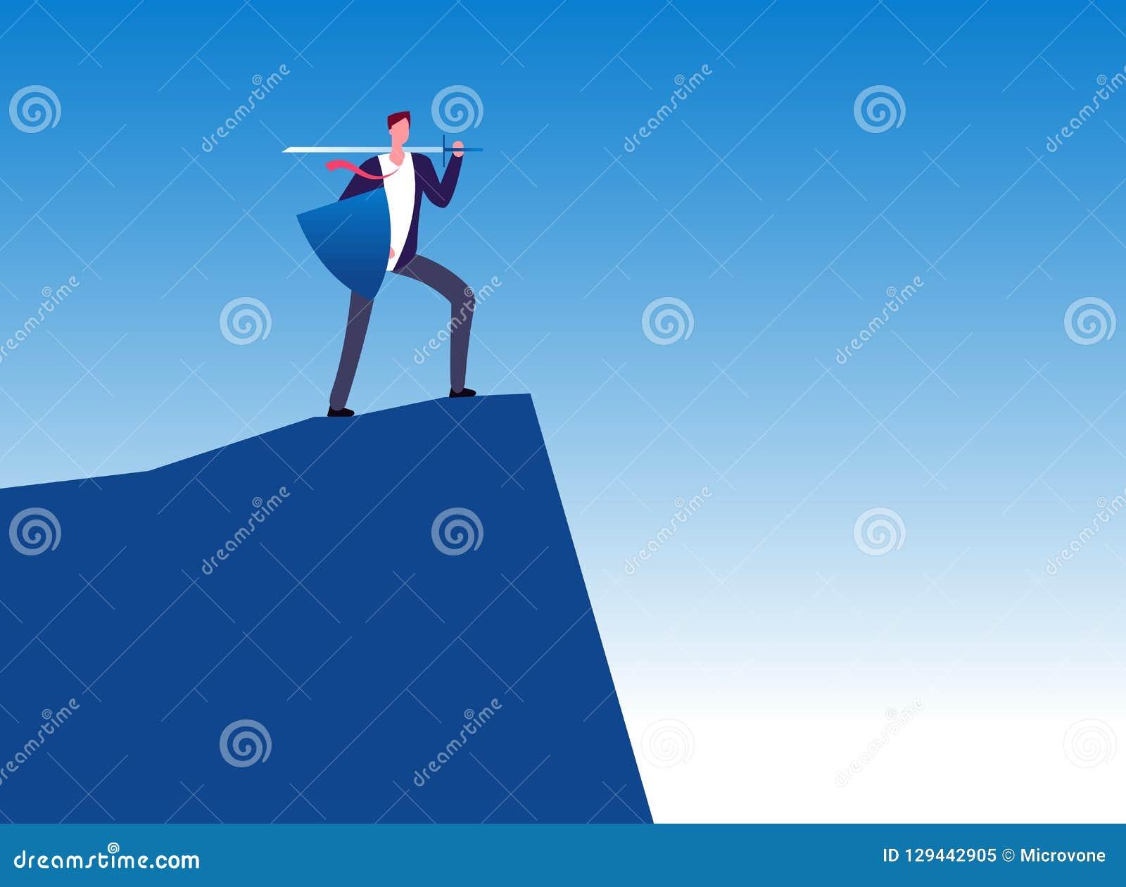 Biznesowy wojownik Biznesmena pogromca z kordzikiem na góra wierzchołku Przywódctwo, władza i biznes ochrony wektor,