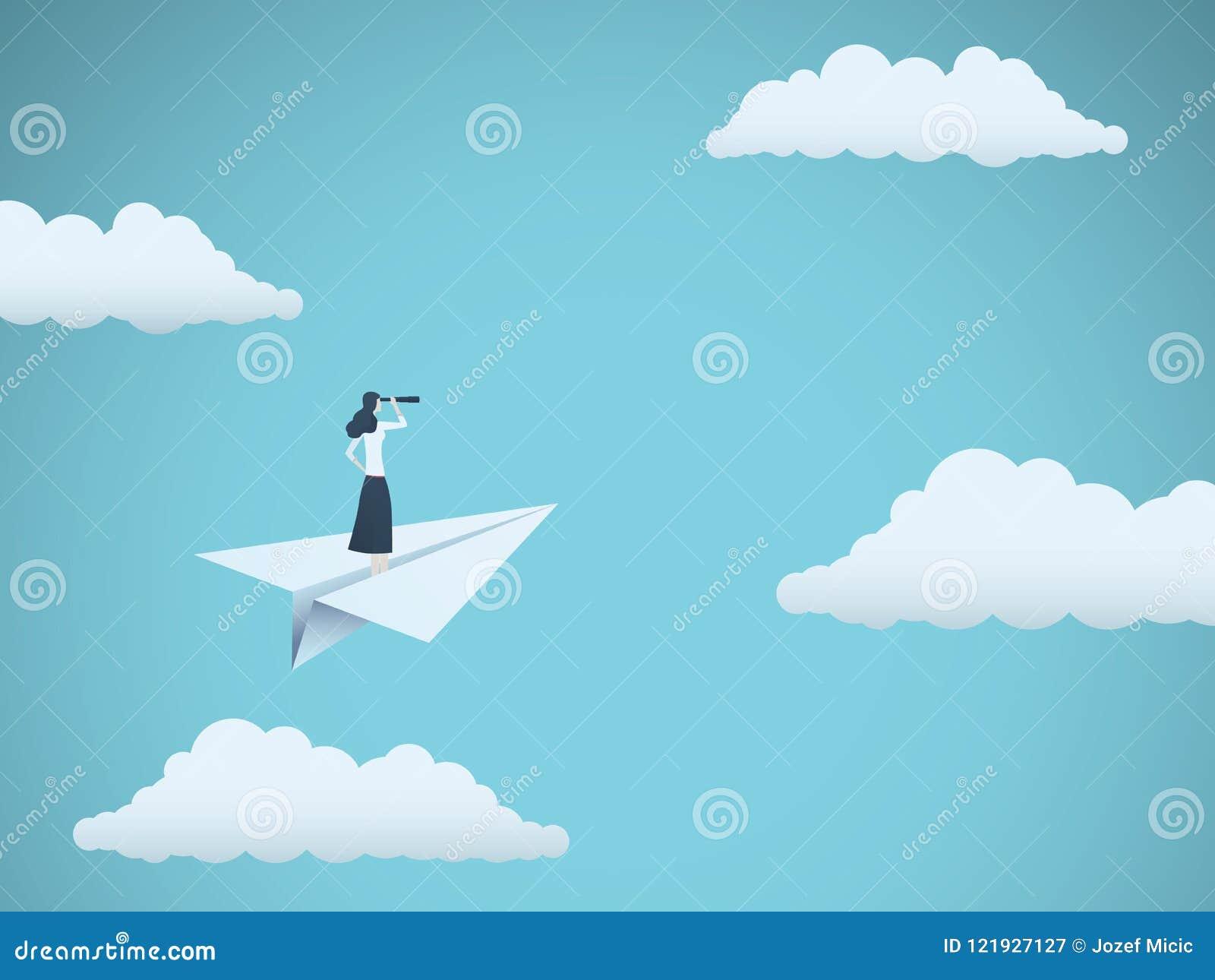 Biznesowy wzrok lub chimeryka wektorowy pojęcie z bizneswomanem na papieru samolocie z teleskopem Symbol kobieta lider