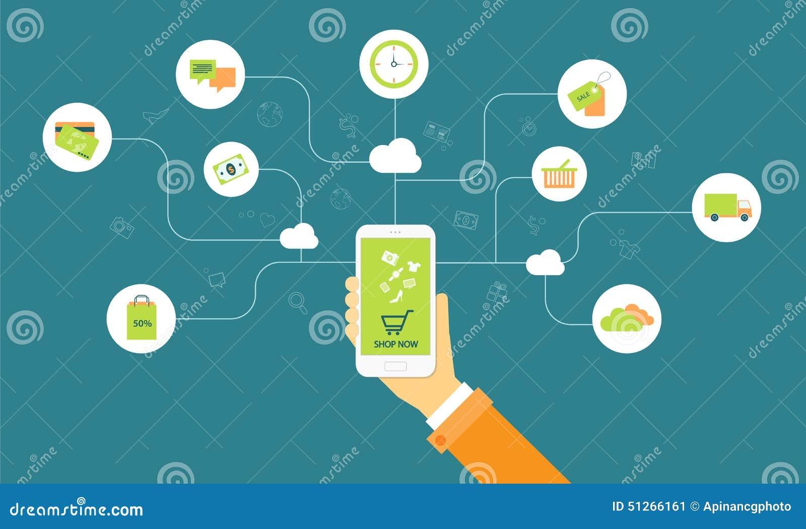 Biznesowy zakupy na linii na obłocznym mobilnym pojęciu