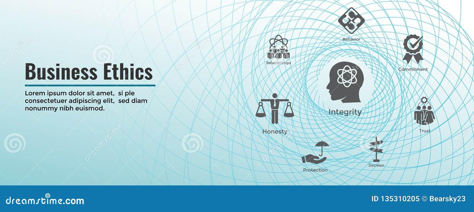 Biznesowych etyk sieci sztandar i ikona Ustawiający z rzetelnością, prawością, oddaniem i decyzją,