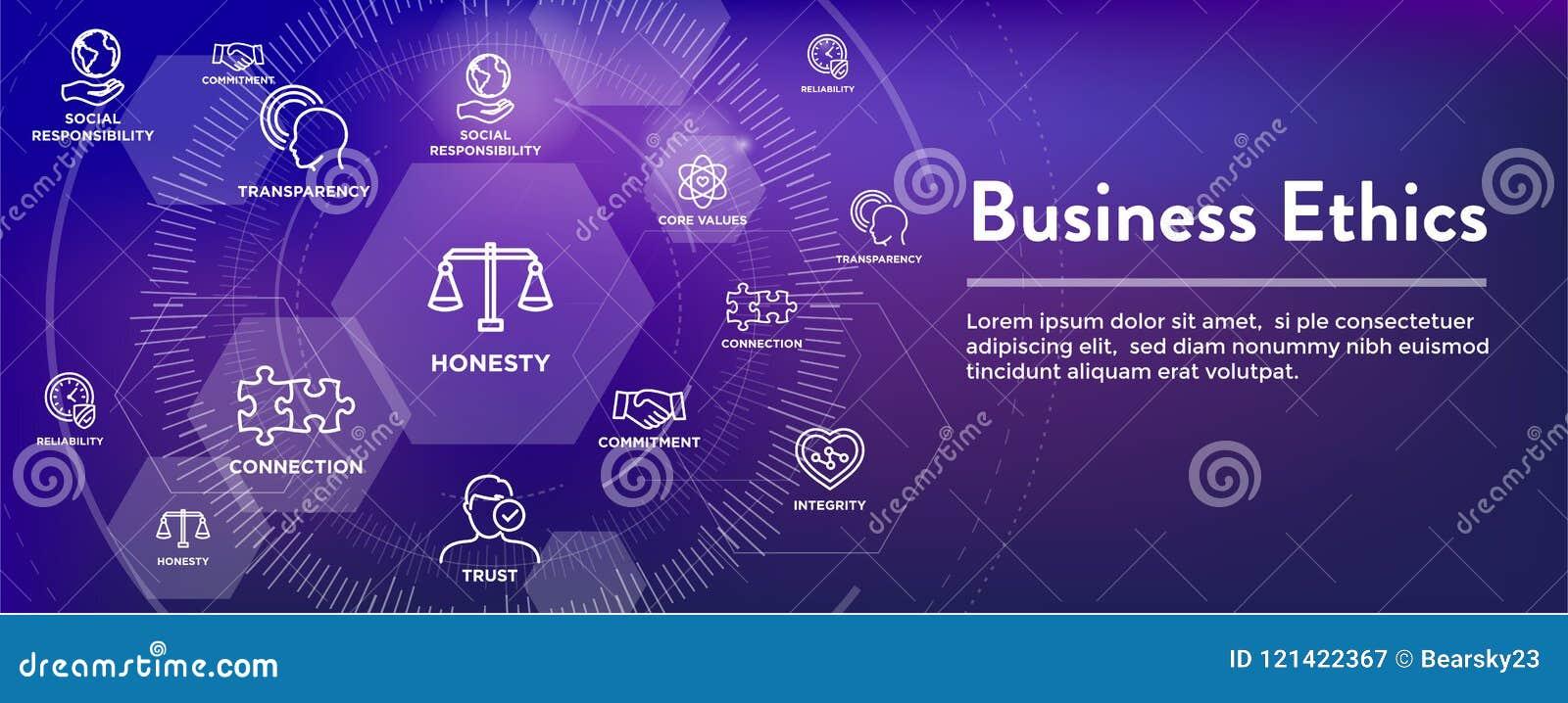 Biznesowych etyk sieci sztandaru ikona Ustawiająca z rzetelnością, prawość, Com