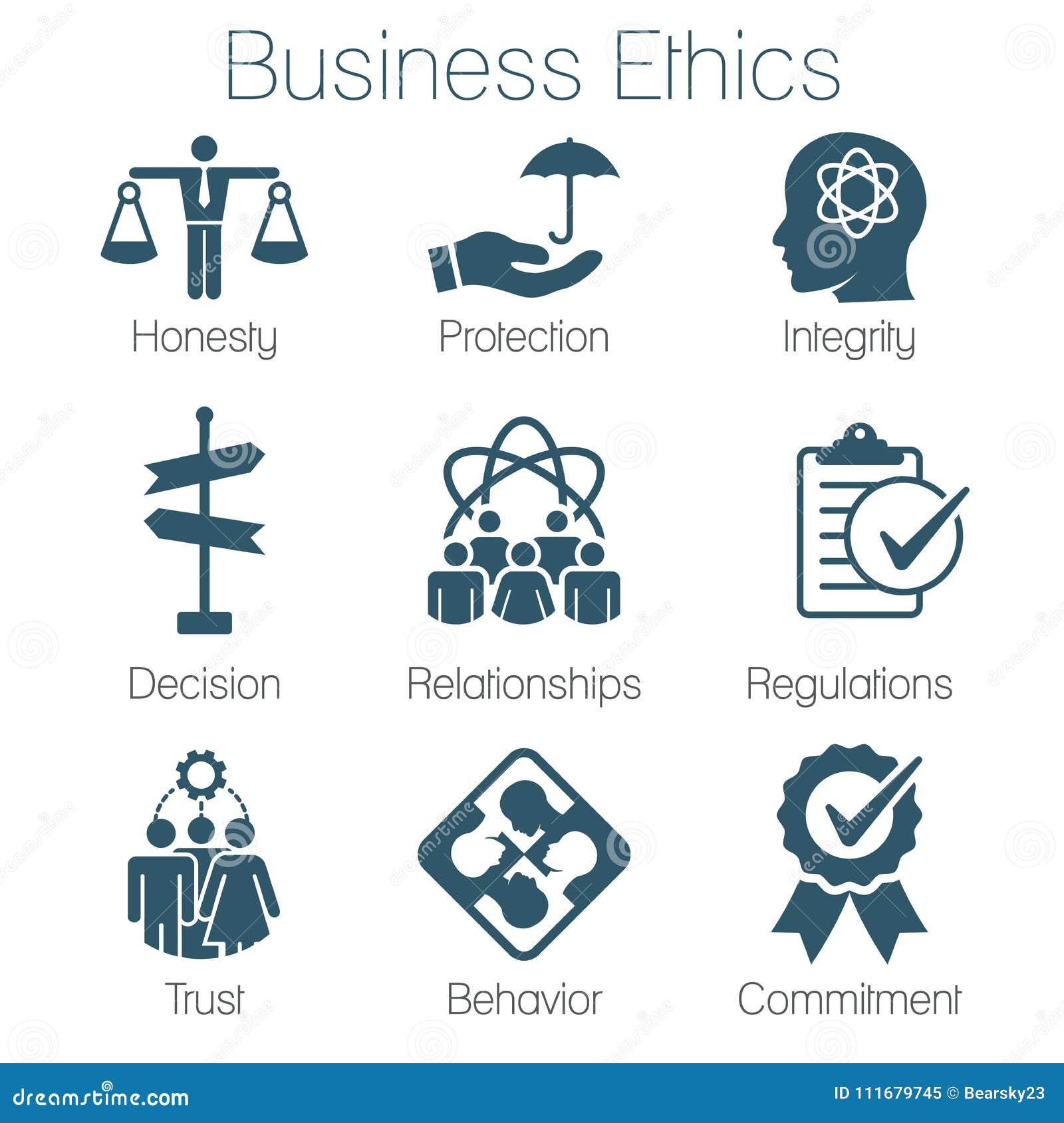 Biznesowych etyk Stała ikona Ustawiająca z rzetelnością, prawość, Commitme