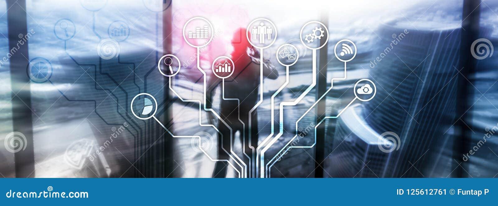 Biznesowych zastosowań ikony na zamazanym tle Pieniężny i handlu Internetowy technologii pojęcie