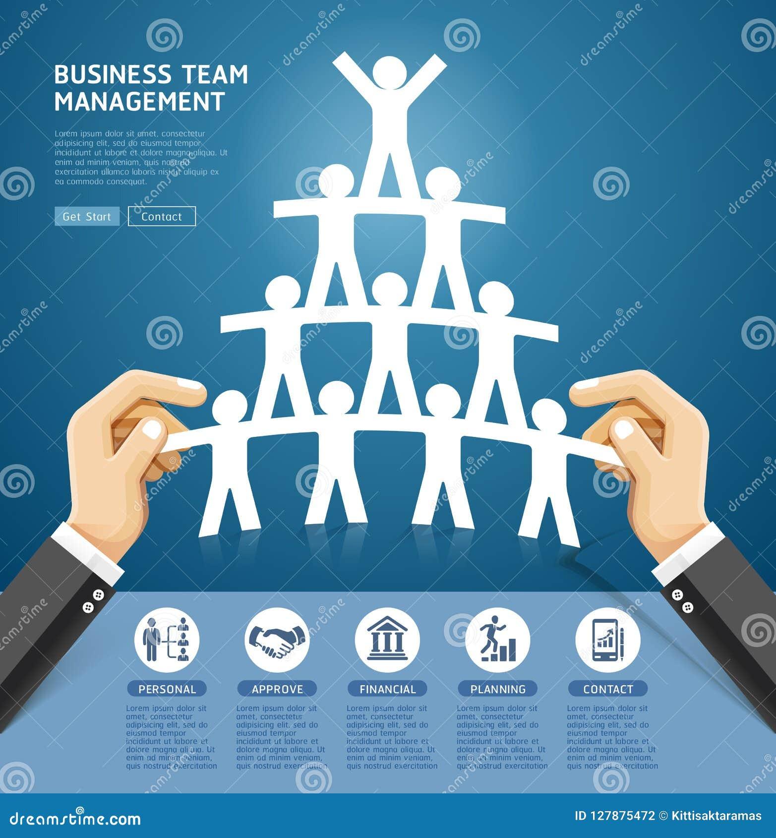 Biznesu drużynowego zarządzania konceptualny projekt Ręka trzyma papier