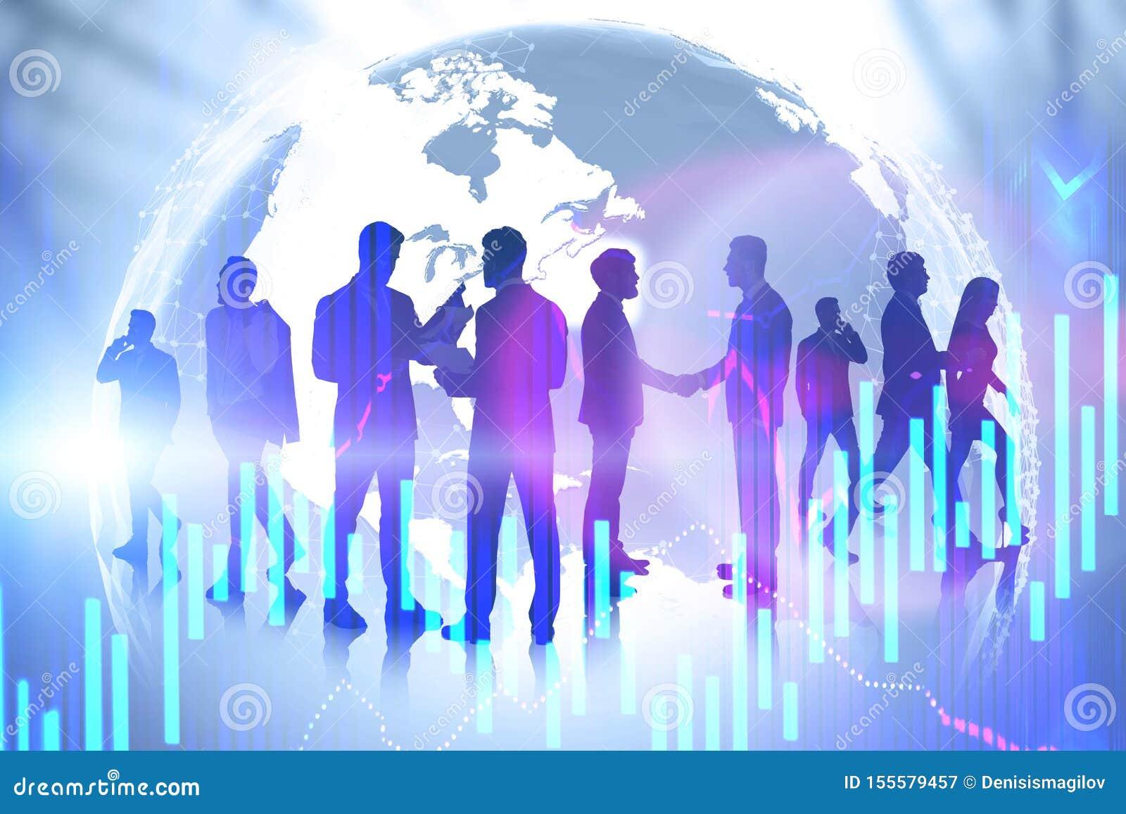 Biznesu drużynowy i międzynarodowy partnerstwo