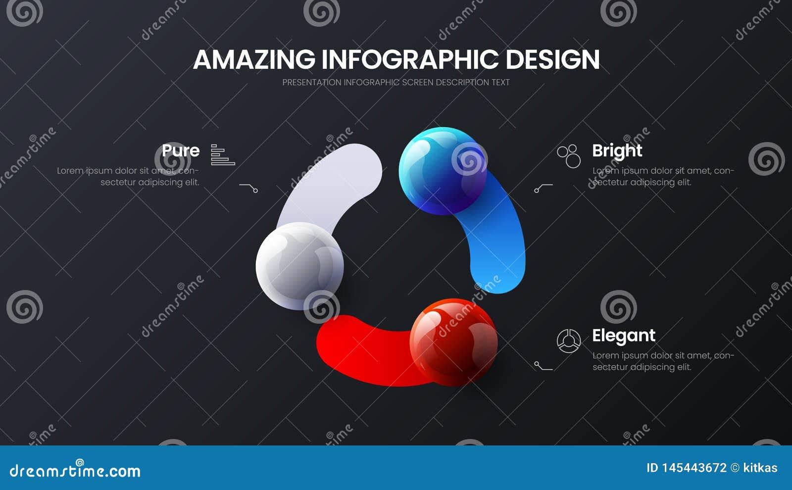 Biznesu 3 opcji infographic prezentacji wektorowe pi?ki ilustracyjne Korporacyjny marketingowy analityka projekta uk?ad